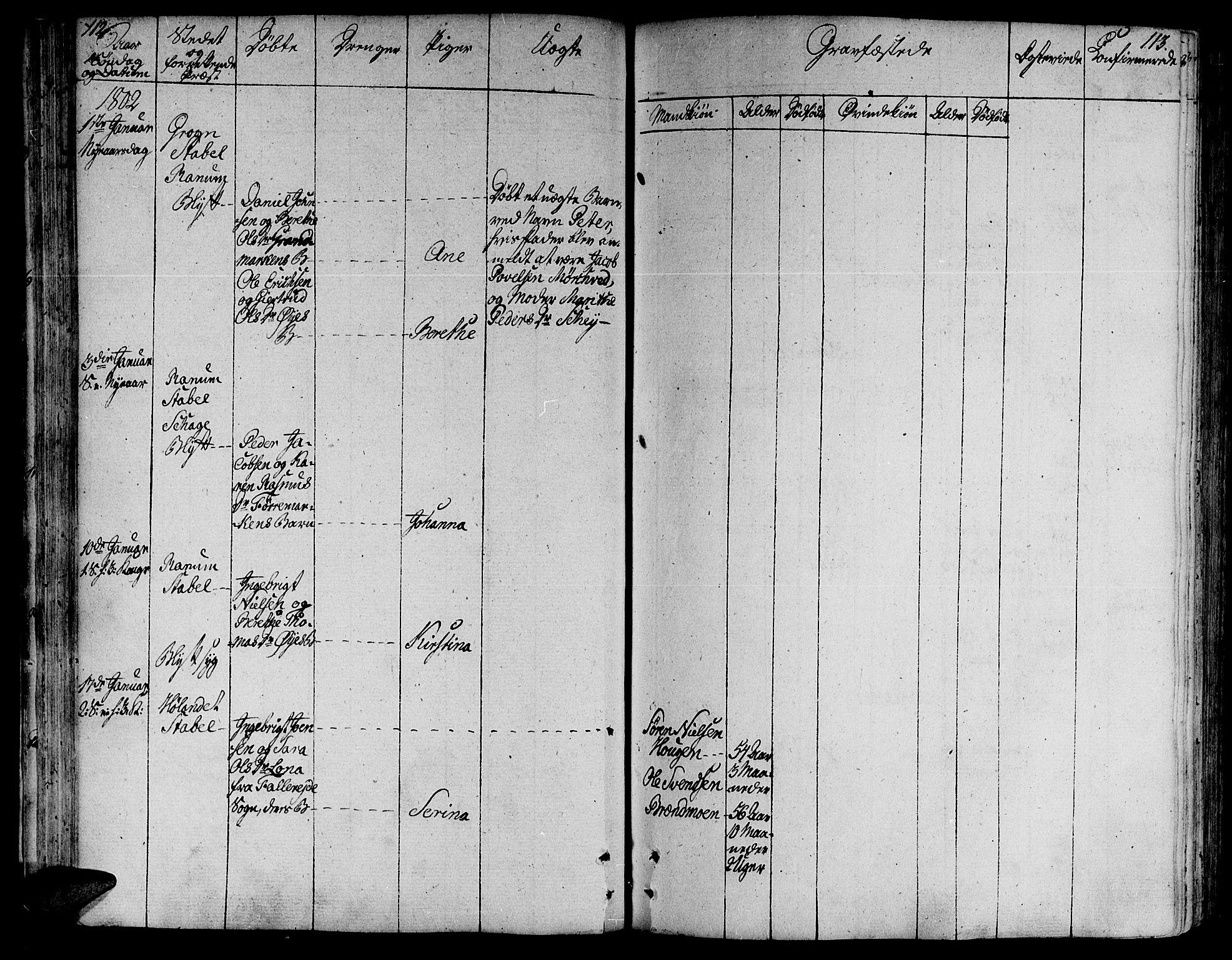 SAT, Ministerialprotokoller, klokkerbøker og fødselsregistre - Nord-Trøndelag, 764/L0545: Ministerialbok nr. 764A05, 1799-1816, s. 112-113