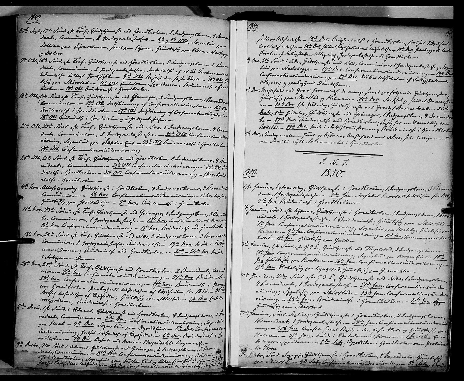 SAH, Gran prestekontor, Ministerialbok nr. 11, 1842-1856, s. 1418-1419