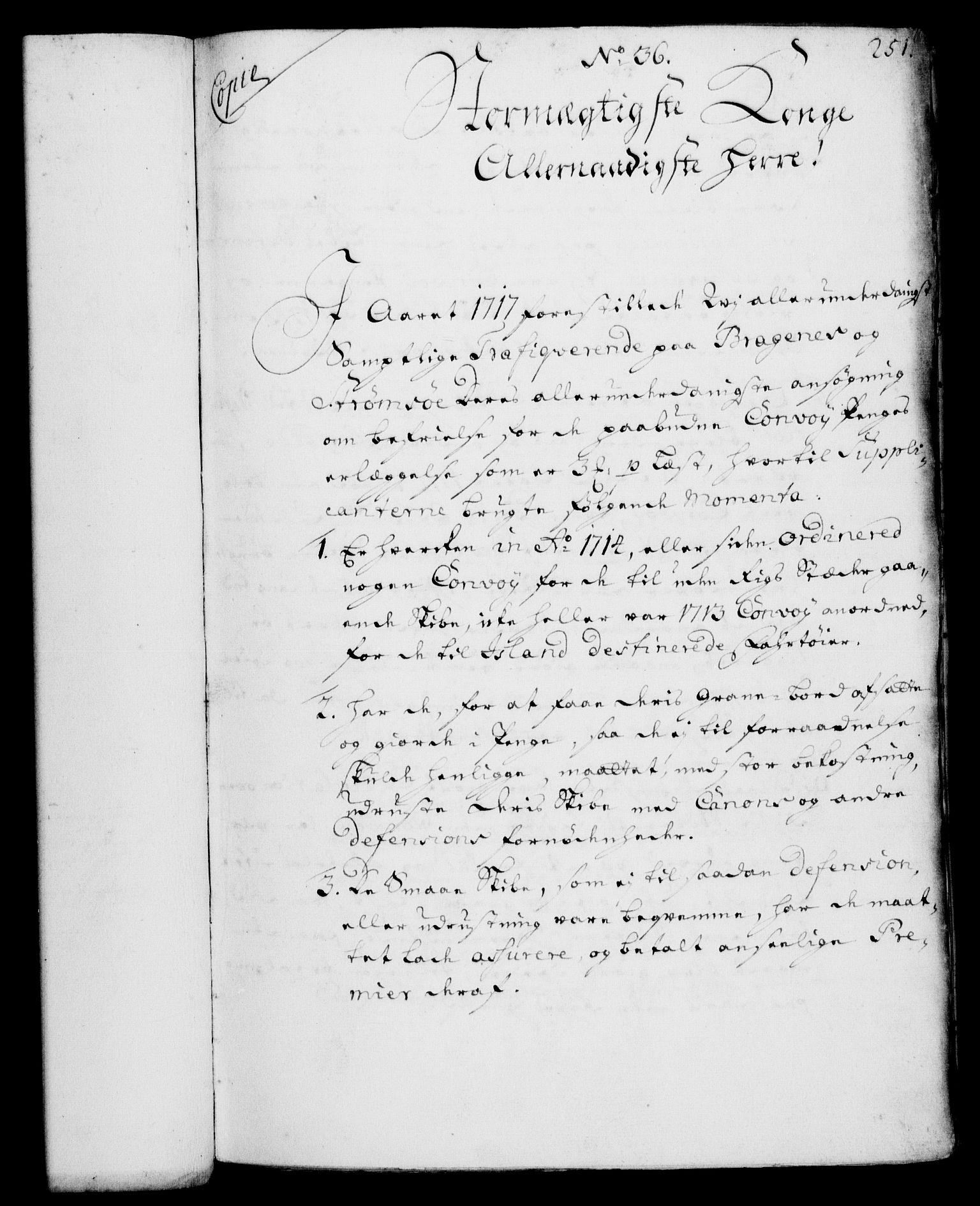 RA, Rentekammeret, Kammerkanselliet, G/Gf/Gfa/L0002: Norsk relasjons- og resolusjonsprotokoll (merket RK 52.2), 1720, s. 251