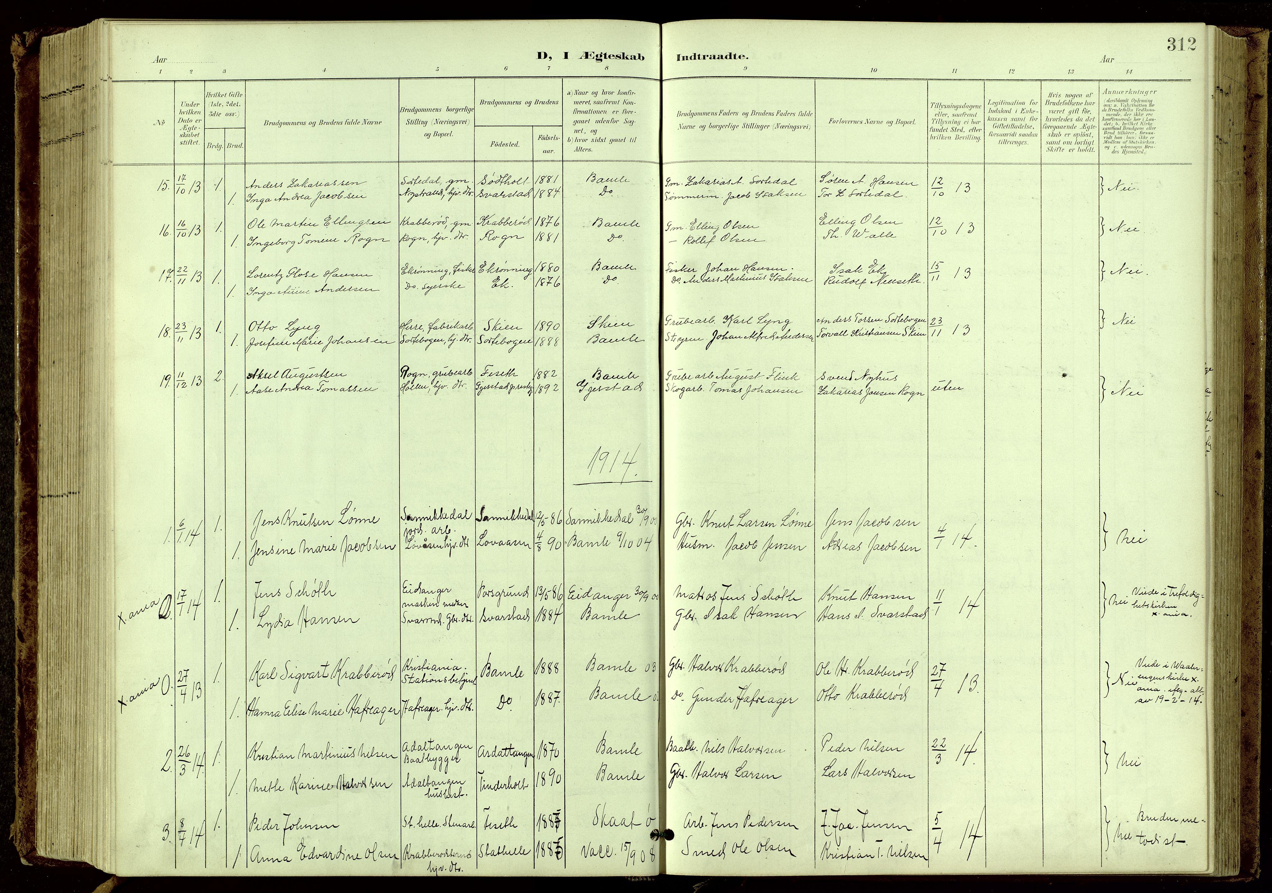 SAKO, Bamble kirkebøker, G/Ga/L0010: Klokkerbok nr. I 10, 1901-1919, s. 312