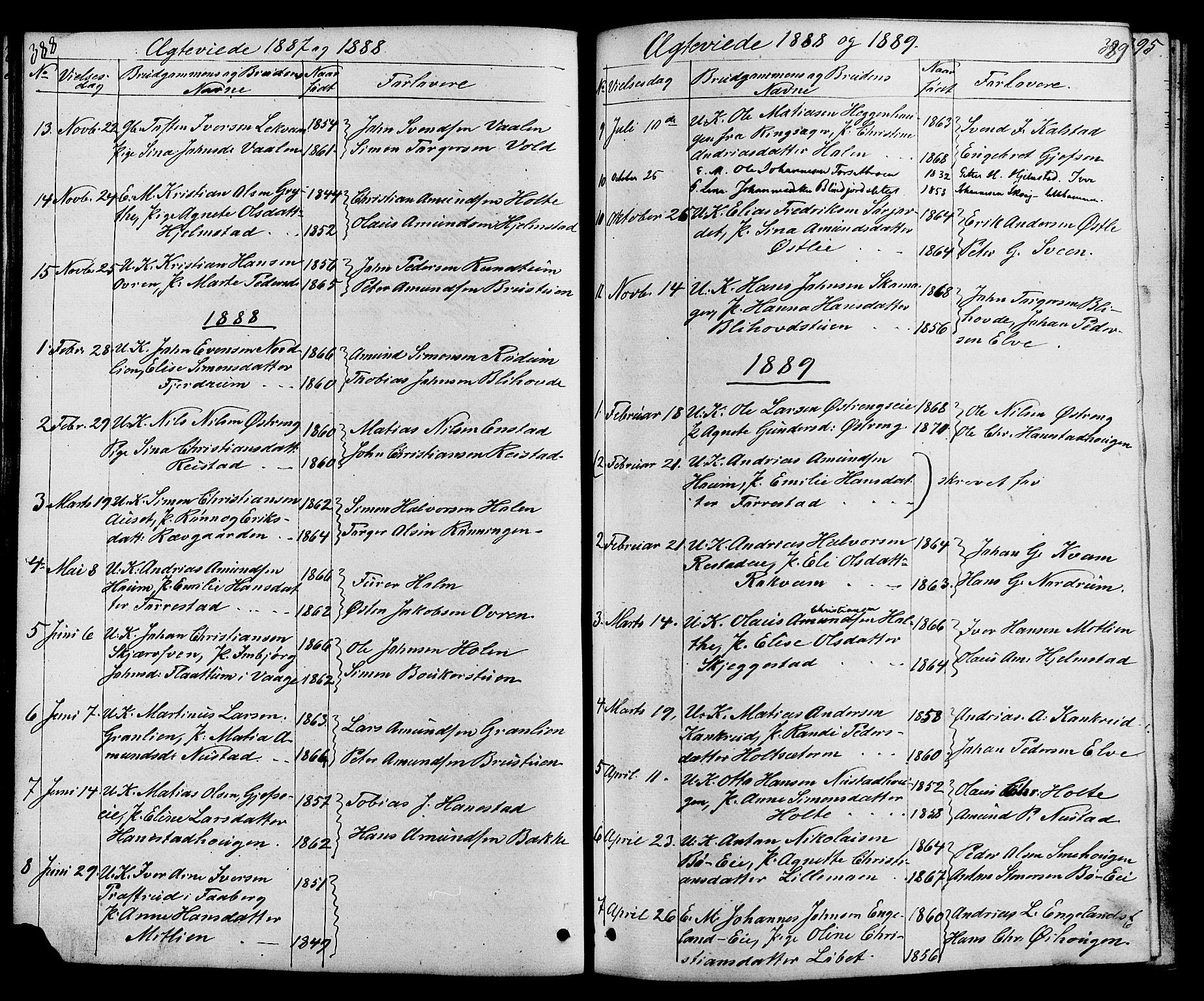 SAH, Østre Gausdal prestekontor, Klokkerbok nr. 1, 1863-1893, s. 388-389