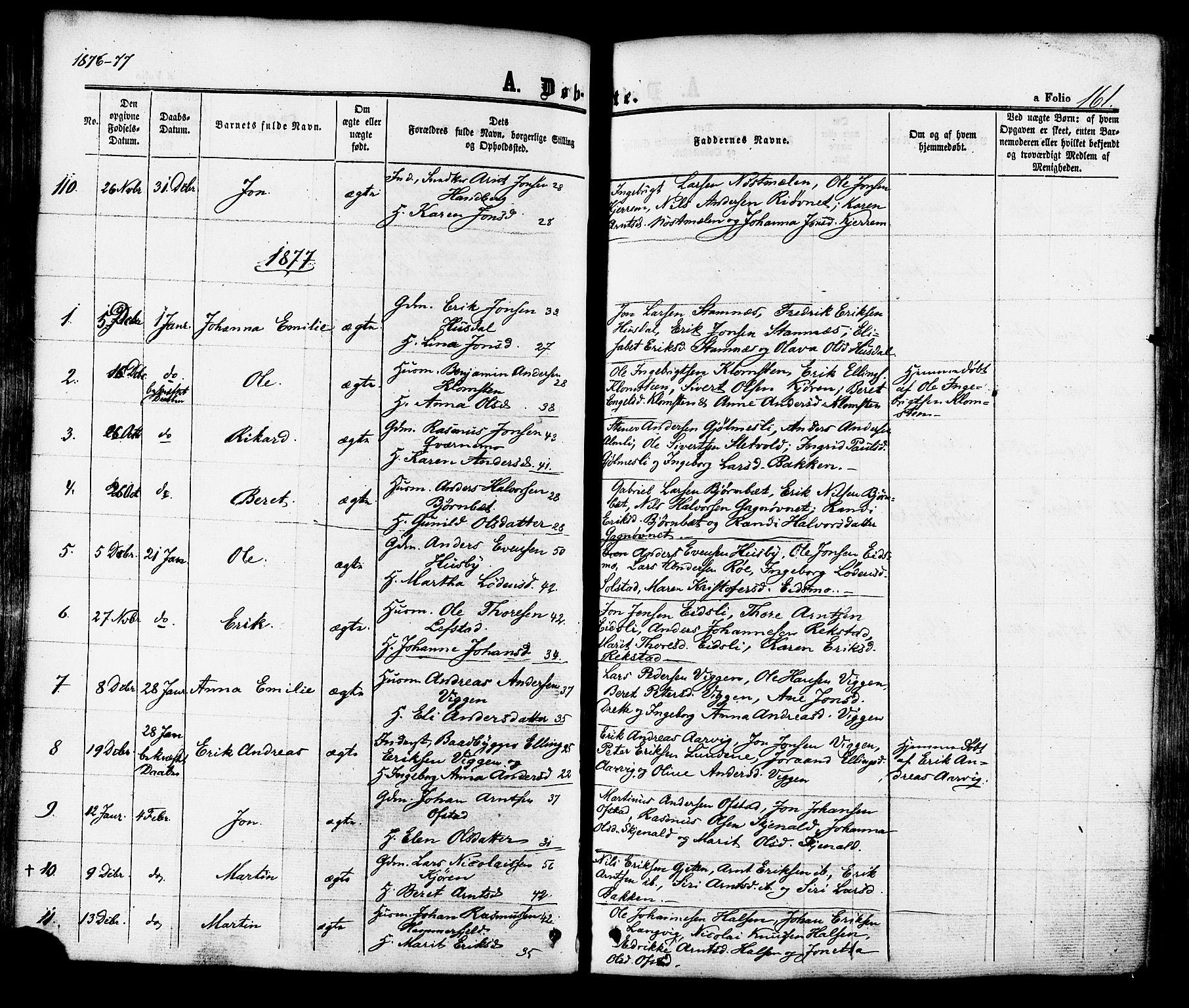 SAT, Ministerialprotokoller, klokkerbøker og fødselsregistre - Sør-Trøndelag, 665/L0772: Ministerialbok nr. 665A07, 1856-1878, s. 161