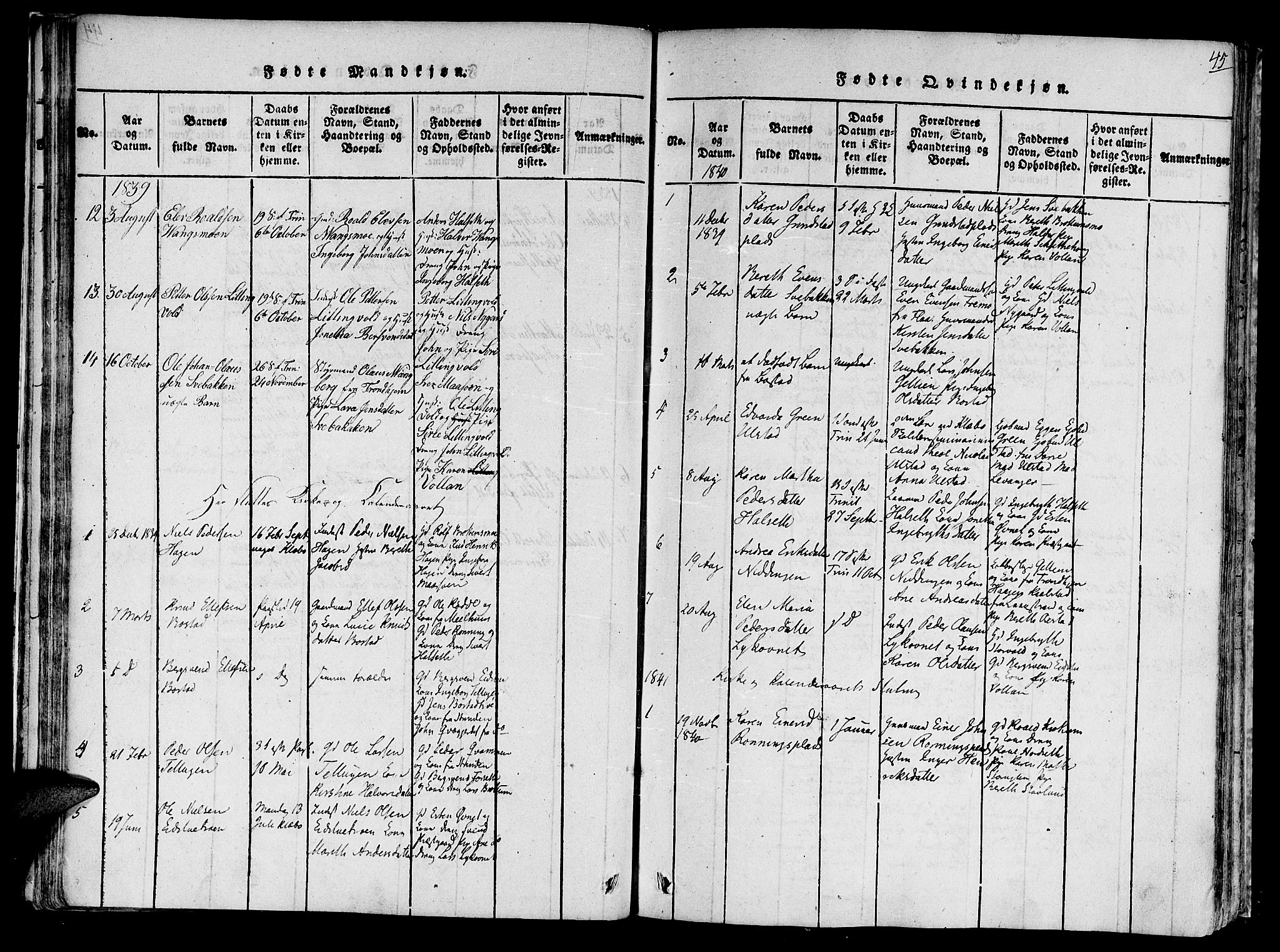 SAT, Ministerialprotokoller, klokkerbøker og fødselsregistre - Sør-Trøndelag, 618/L0439: Ministerialbok nr. 618A04 /1, 1816-1843, s. 45