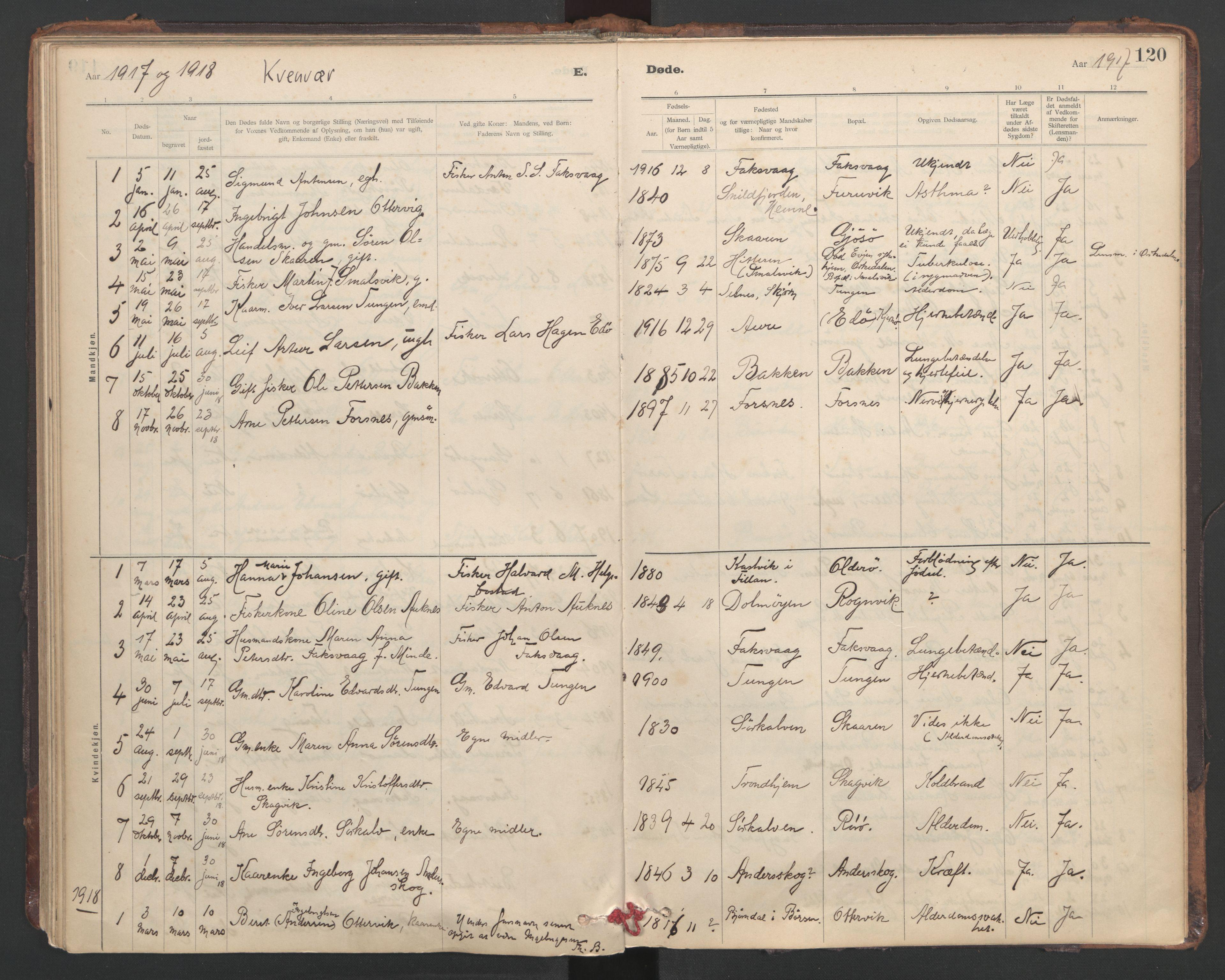 SAT, Ministerialprotokoller, klokkerbøker og fødselsregistre - Sør-Trøndelag, 635/L0552: Ministerialbok nr. 635A02, 1899-1919, s. 120