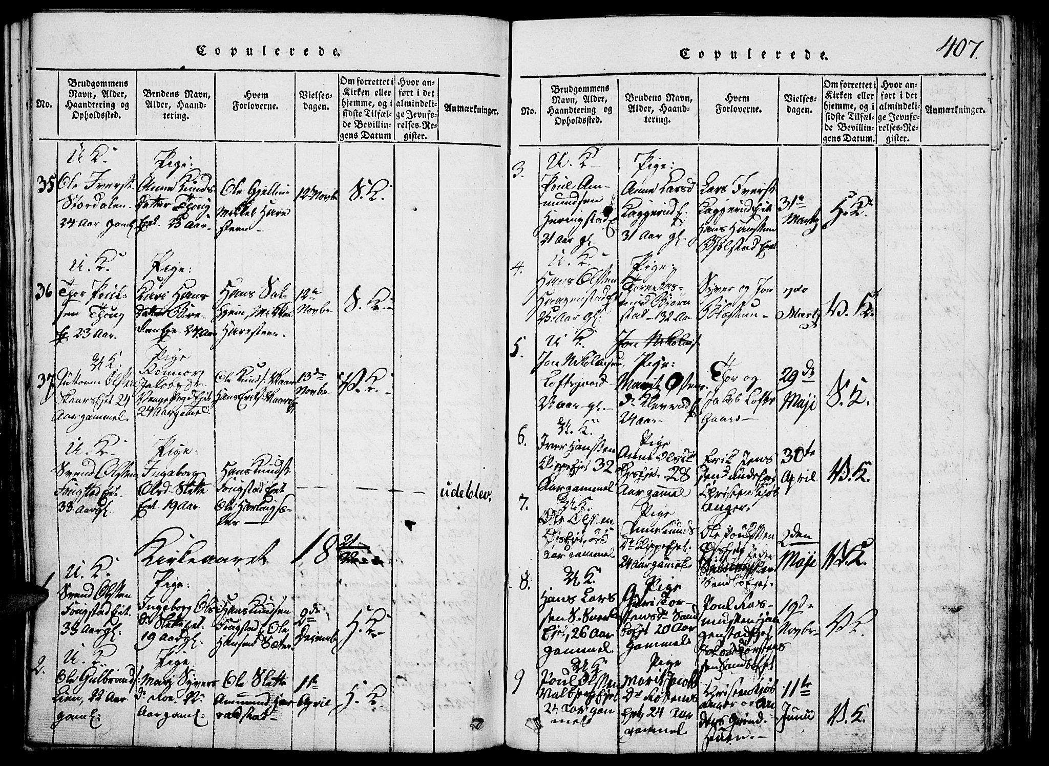 SAH, Vågå prestekontor, Klokkerbok nr. 1, 1815-1827, s. 406-407