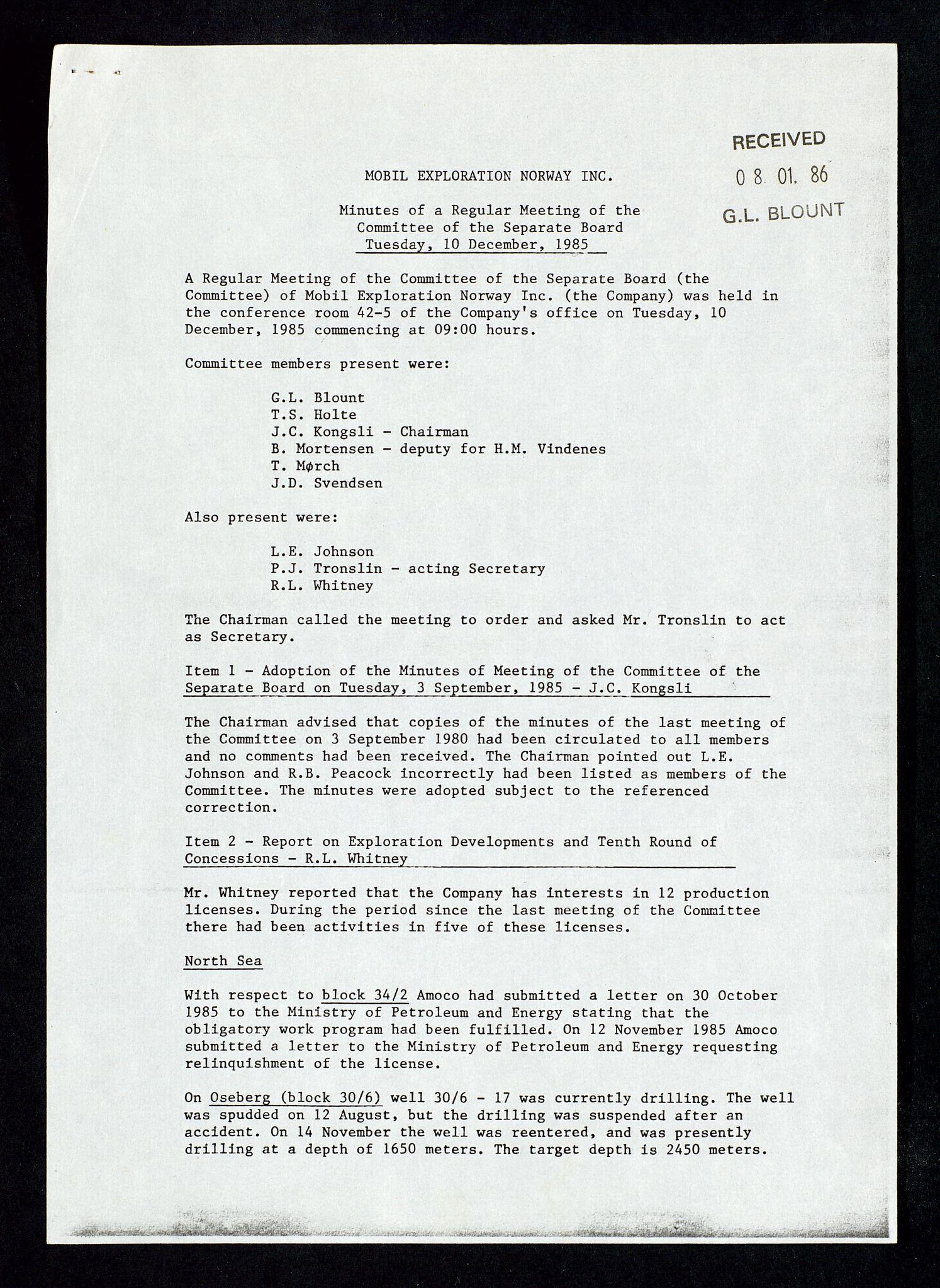 SAST, Pa 1578 - Mobil Exploration Norway Incorporated, D/Da/L0168: Sak og korrespondanse og styremøter, 1973-1986, s. 220