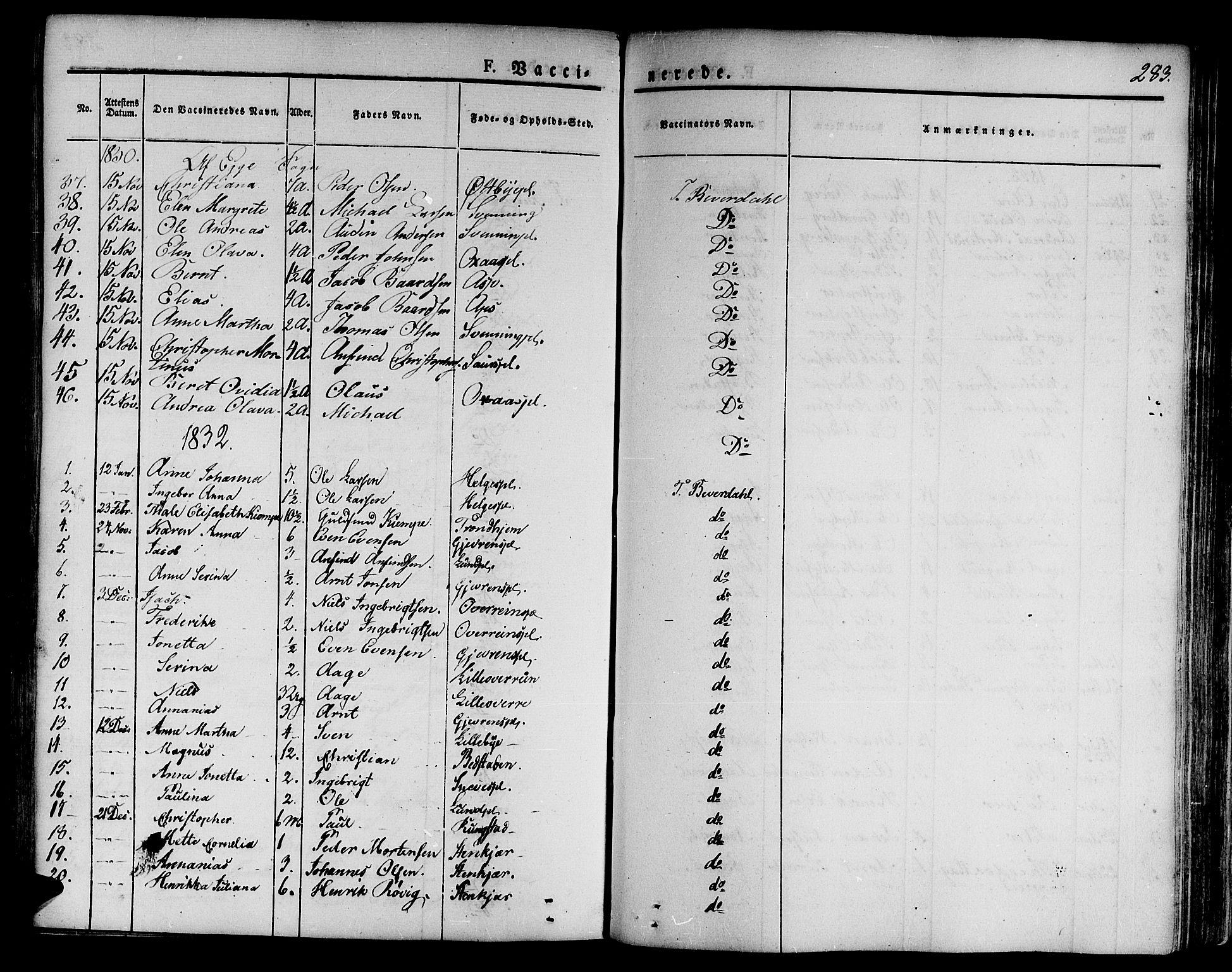 SAT, Ministerialprotokoller, klokkerbøker og fødselsregistre - Nord-Trøndelag, 746/L0445: Ministerialbok nr. 746A04, 1826-1846, s. 283
