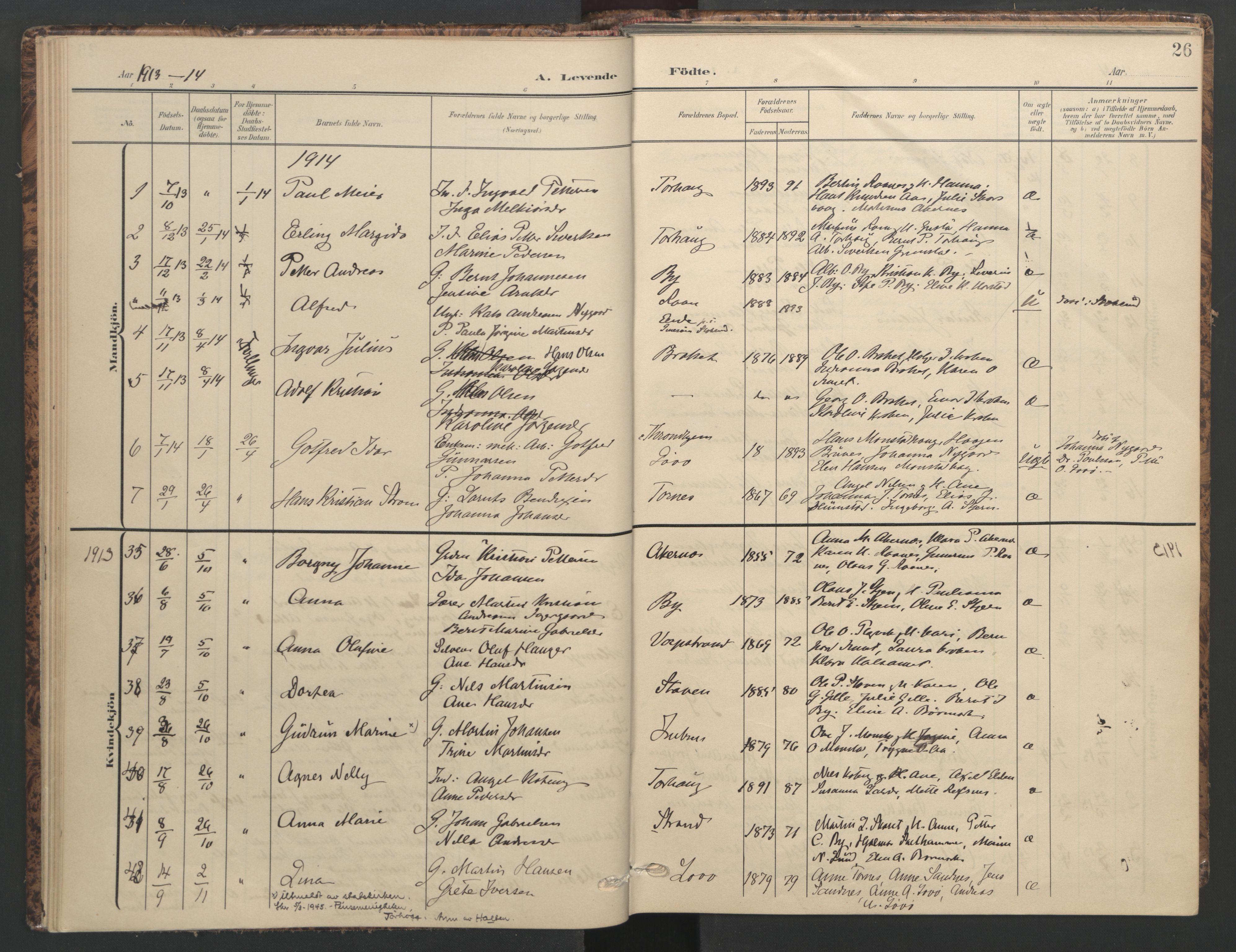 SAT, Ministerialprotokoller, klokkerbøker og fødselsregistre - Sør-Trøndelag, 655/L0682: Ministerialbok nr. 655A11, 1908-1922, s. 26