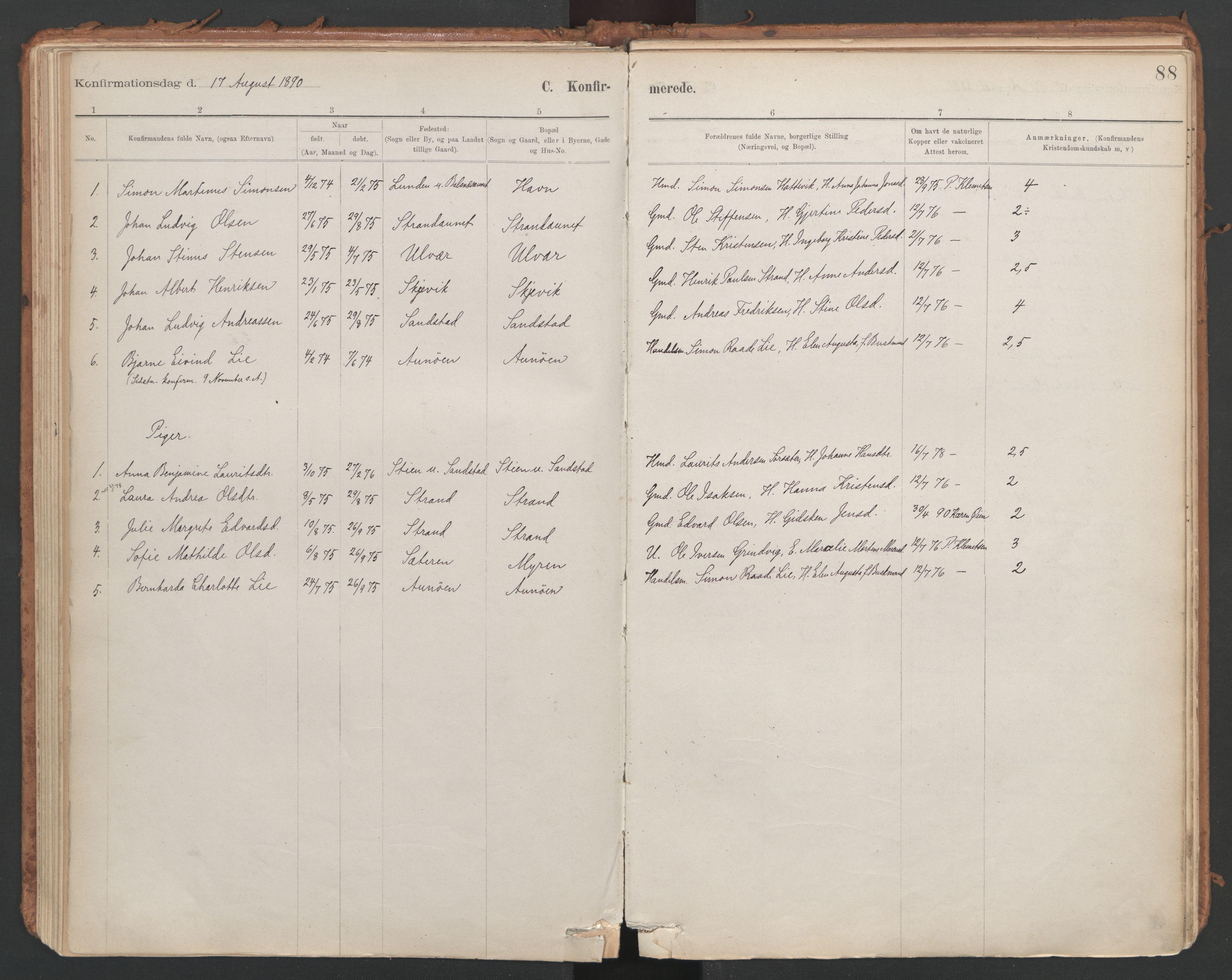 SAT, Ministerialprotokoller, klokkerbøker og fødselsregistre - Sør-Trøndelag, 639/L0572: Ministerialbok nr. 639A01, 1890-1920, s. 88