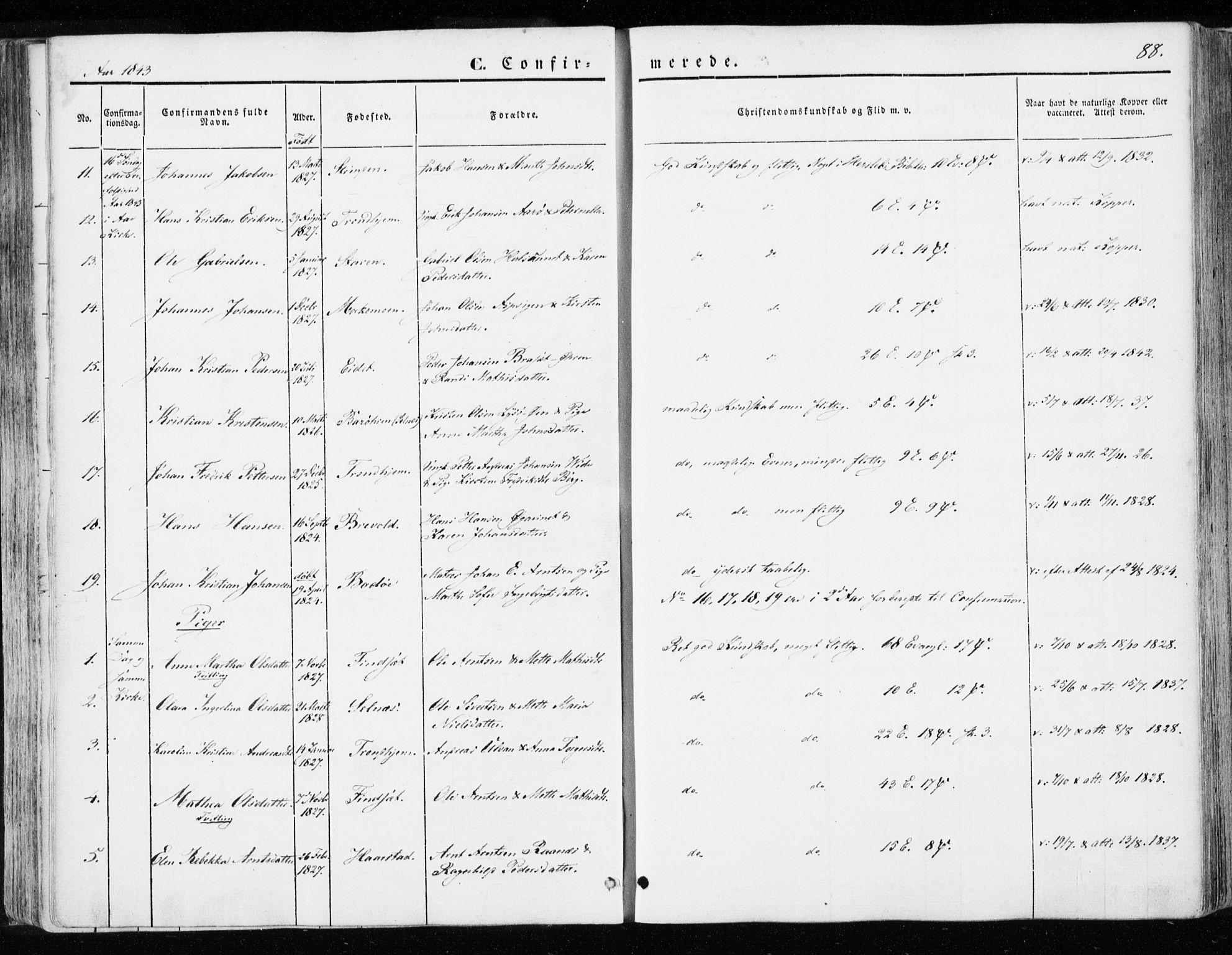 SAT, Ministerialprotokoller, klokkerbøker og fødselsregistre - Sør-Trøndelag, 655/L0677: Ministerialbok nr. 655A06, 1847-1860, s. 88