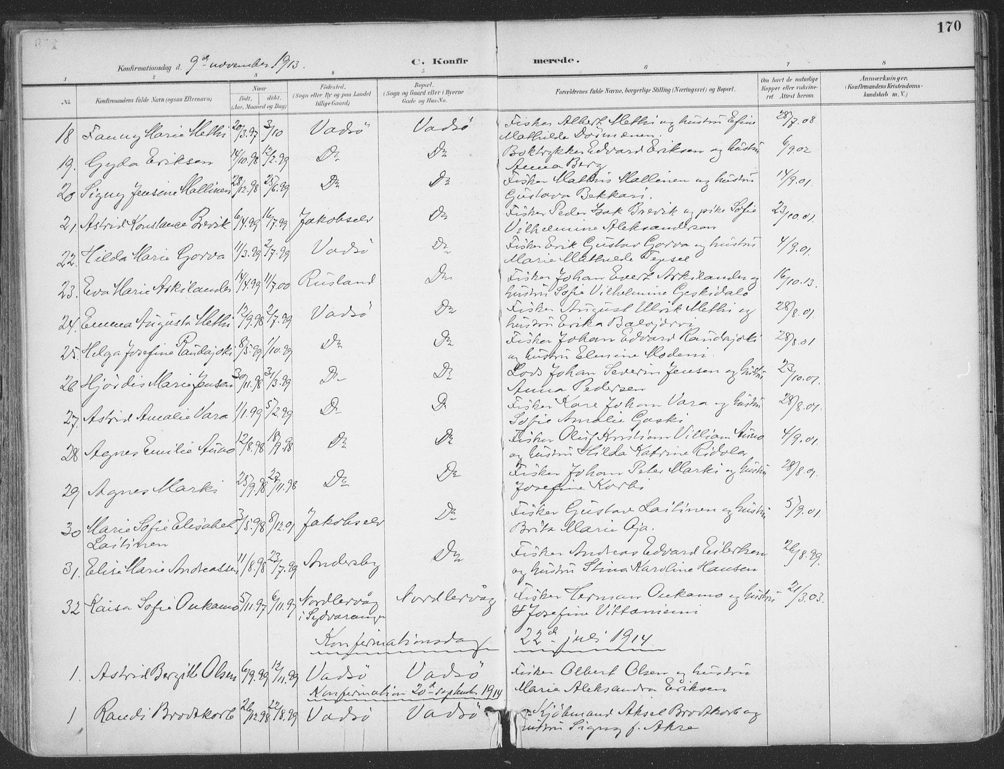 SATØ, Vadsø sokneprestkontor, H/Ha/L0007kirke: Ministerialbok nr. 7, 1896-1916, s. 170
