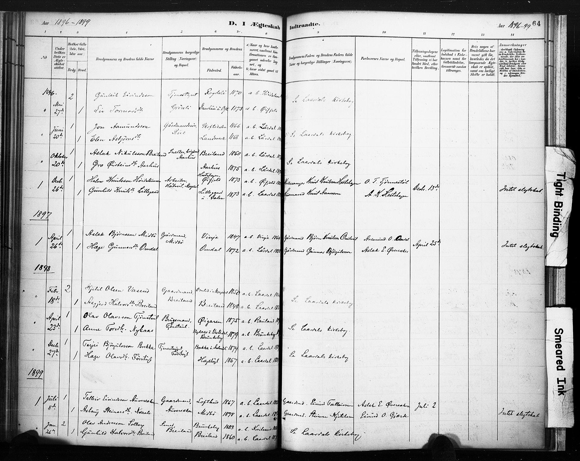SAKO, Lårdal kirkebøker, F/Fc/L0002: Ministerialbok nr. III 2, 1887-1906, s. 64