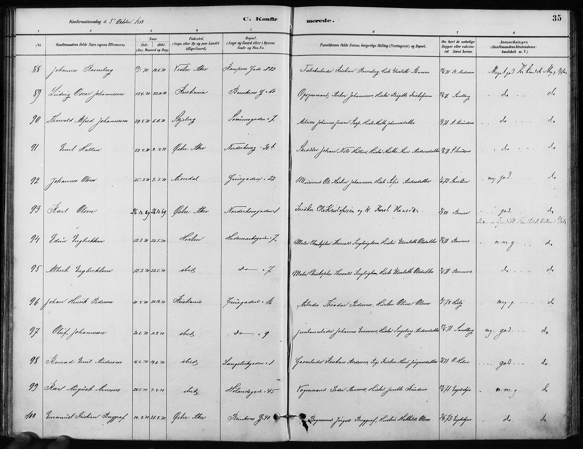 SAO, Kampen prestekontor Kirkebøker, F/Fa/L0002: Ministerialbok nr. I 2, 1880-1888, s. 35