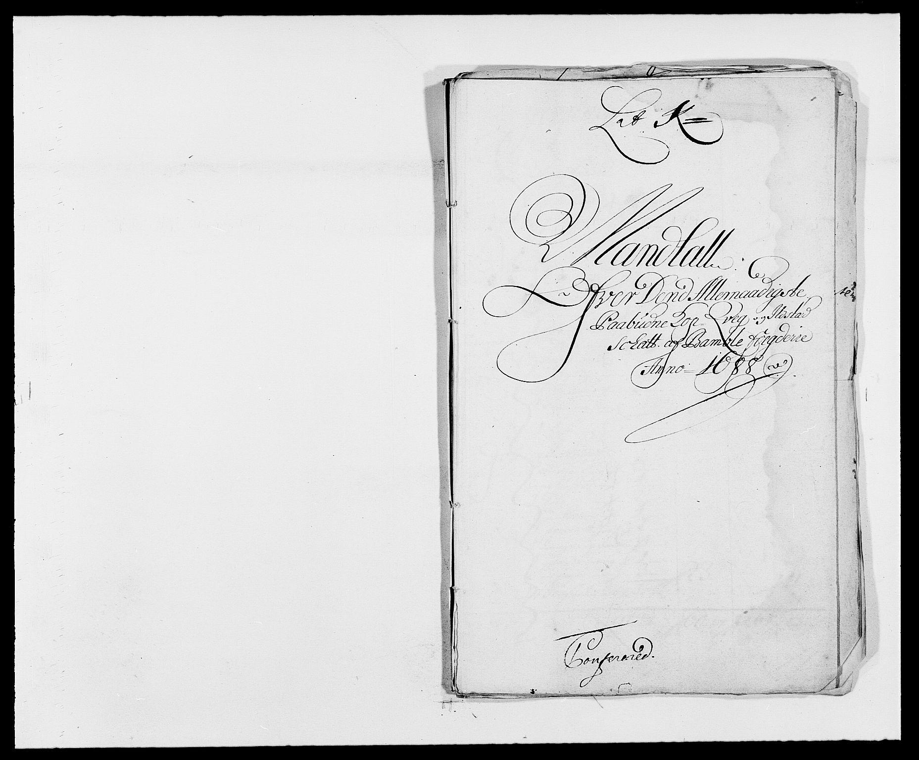 RA, Rentekammeret inntil 1814, Reviderte regnskaper, Fogderegnskap, R34/L2050: Fogderegnskap Bamble, 1688-1691, s. 155