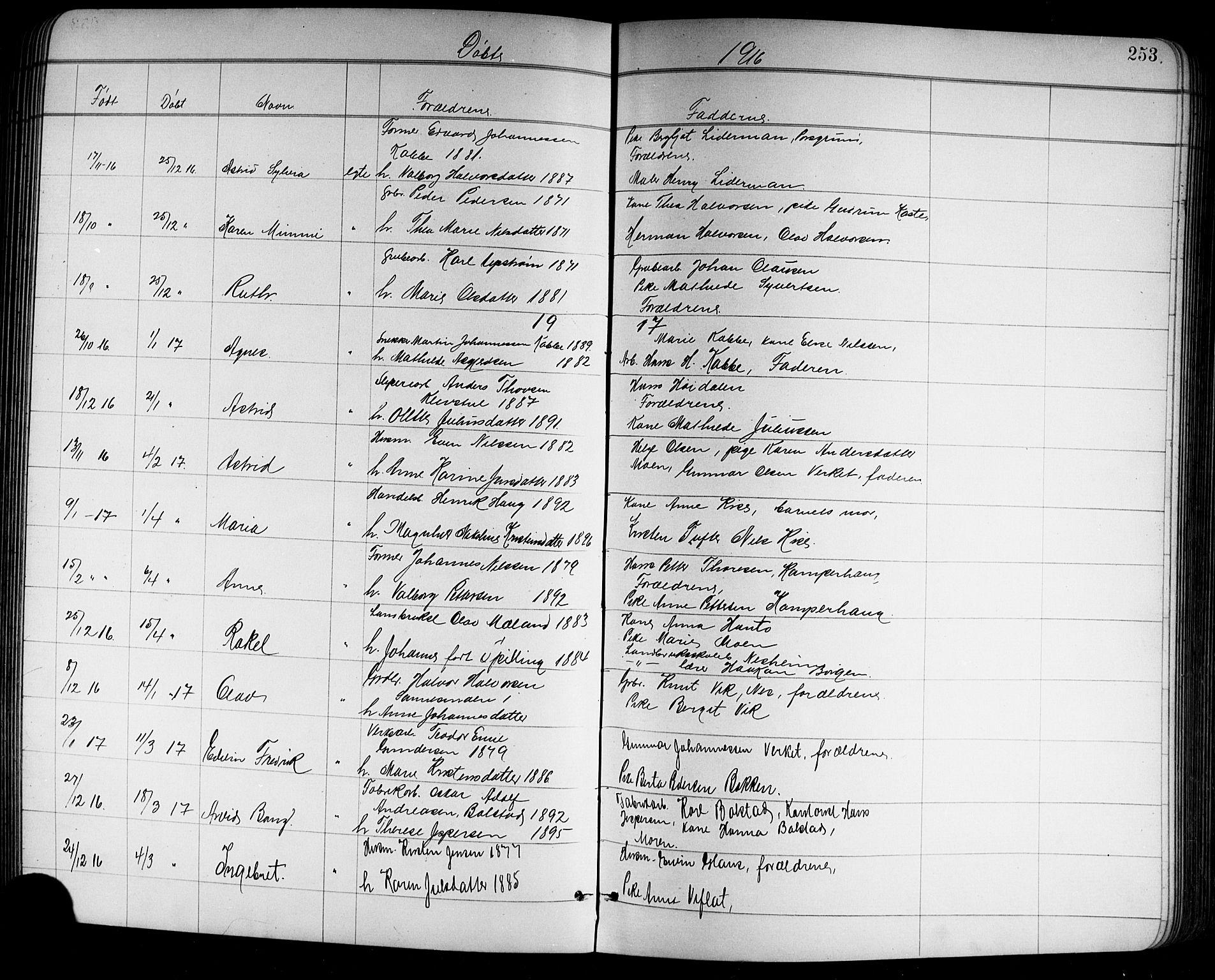 SAKO, Holla kirkebøker, G/Ga/L0005: Klokkerbok nr. I 5, 1891-1917, s. 253