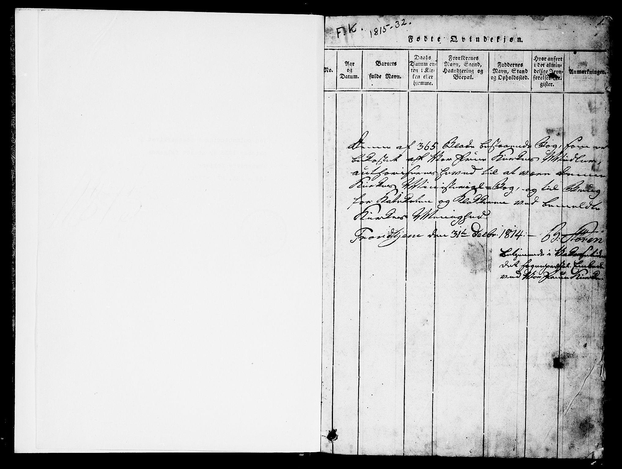 SAT, Ministerialprotokoller, klokkerbøker og fødselsregistre - Sør-Trøndelag, 602/L0135: Klokkerbok nr. 602C03, 1815-1832, s. 1