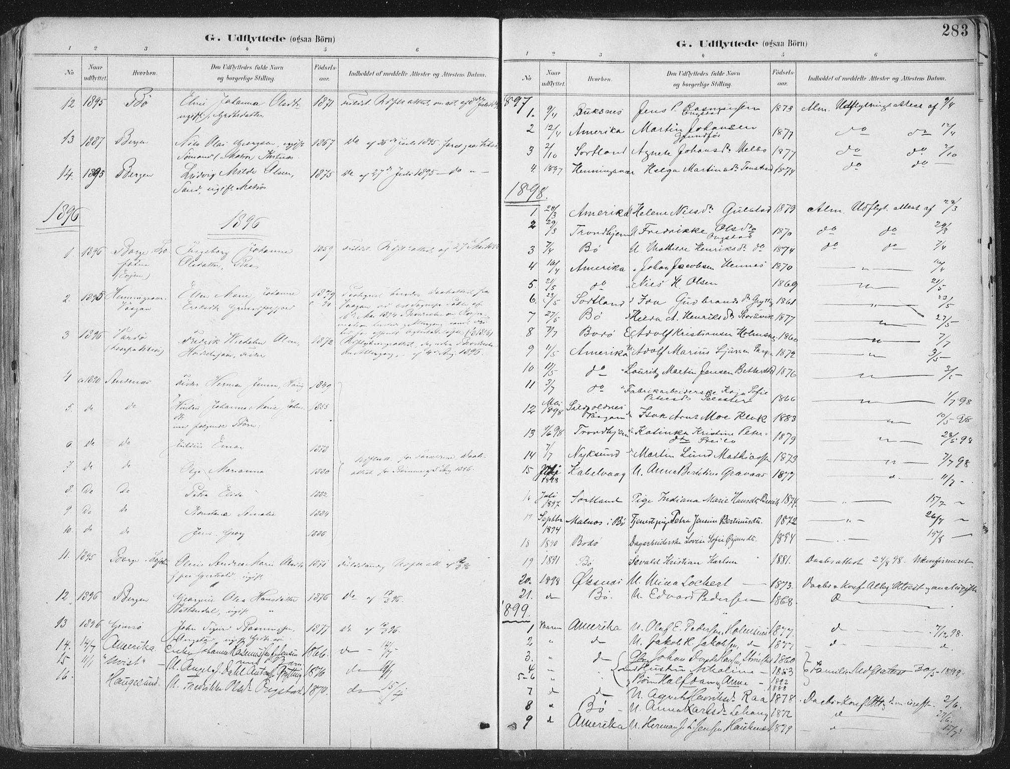 SAT, Ministerialprotokoller, klokkerbøker og fødselsregistre - Nordland, 888/L1246: Ministerialbok nr. 888A12, 1891-1903, s. 283