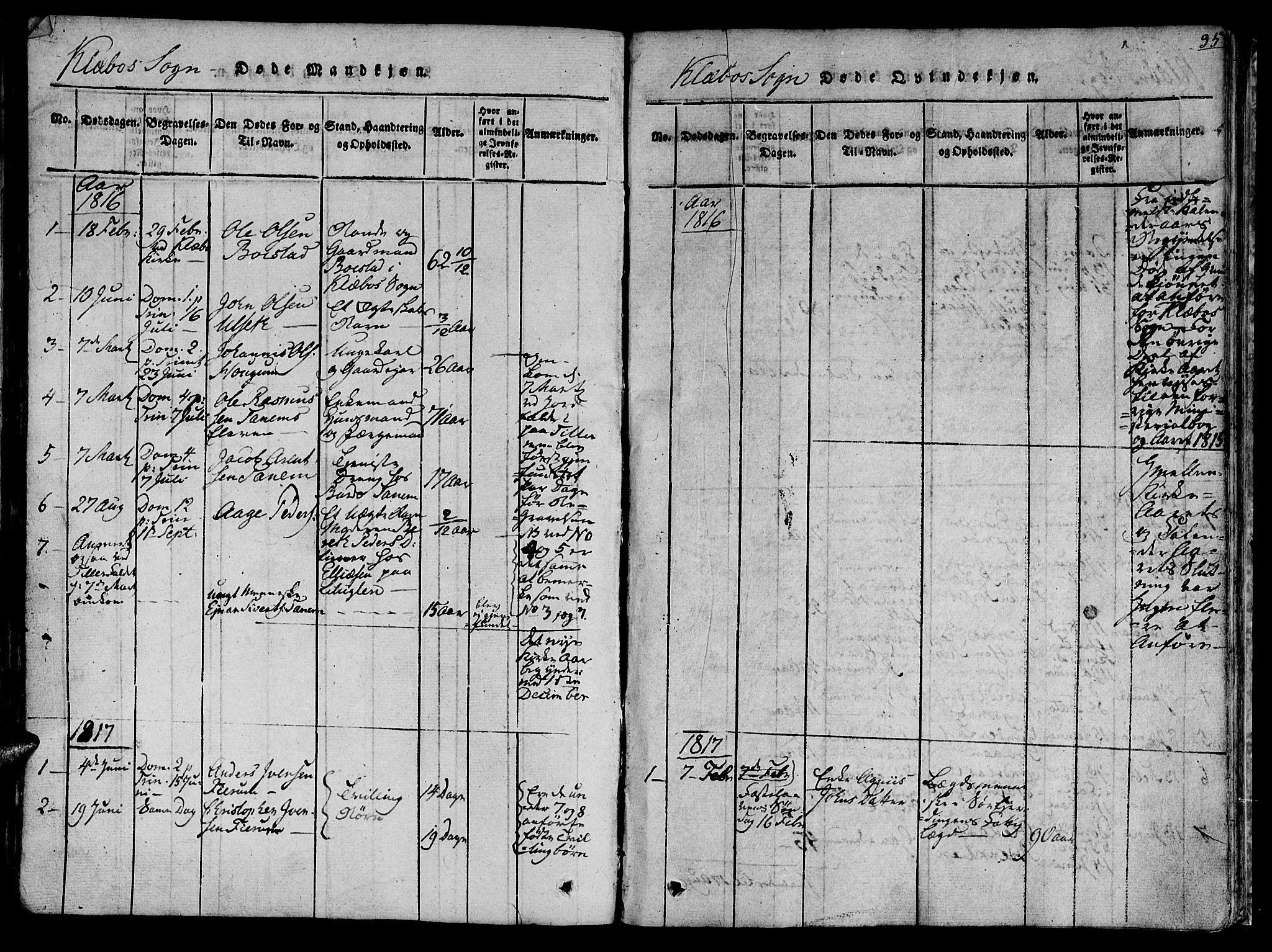 SAT, Ministerialprotokoller, klokkerbøker og fødselsregistre - Sør-Trøndelag, 618/L0439: Ministerialbok nr. 618A04 /1, 1816-1843, s. 95