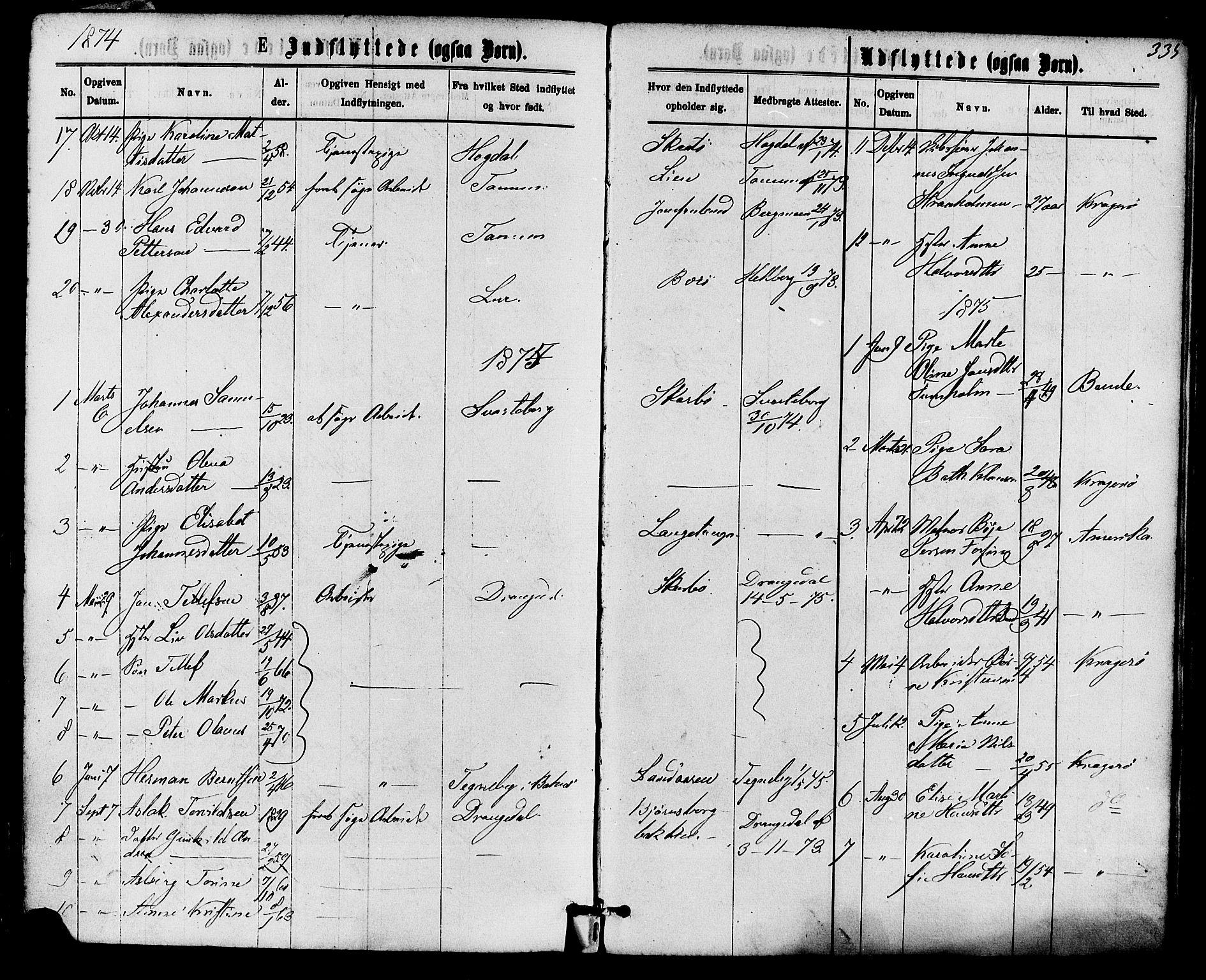 SAKO, Skåtøy kirkebøker, F/Fa/L0001: Ministerialbok nr. I 1, 1874-1883, s. 335