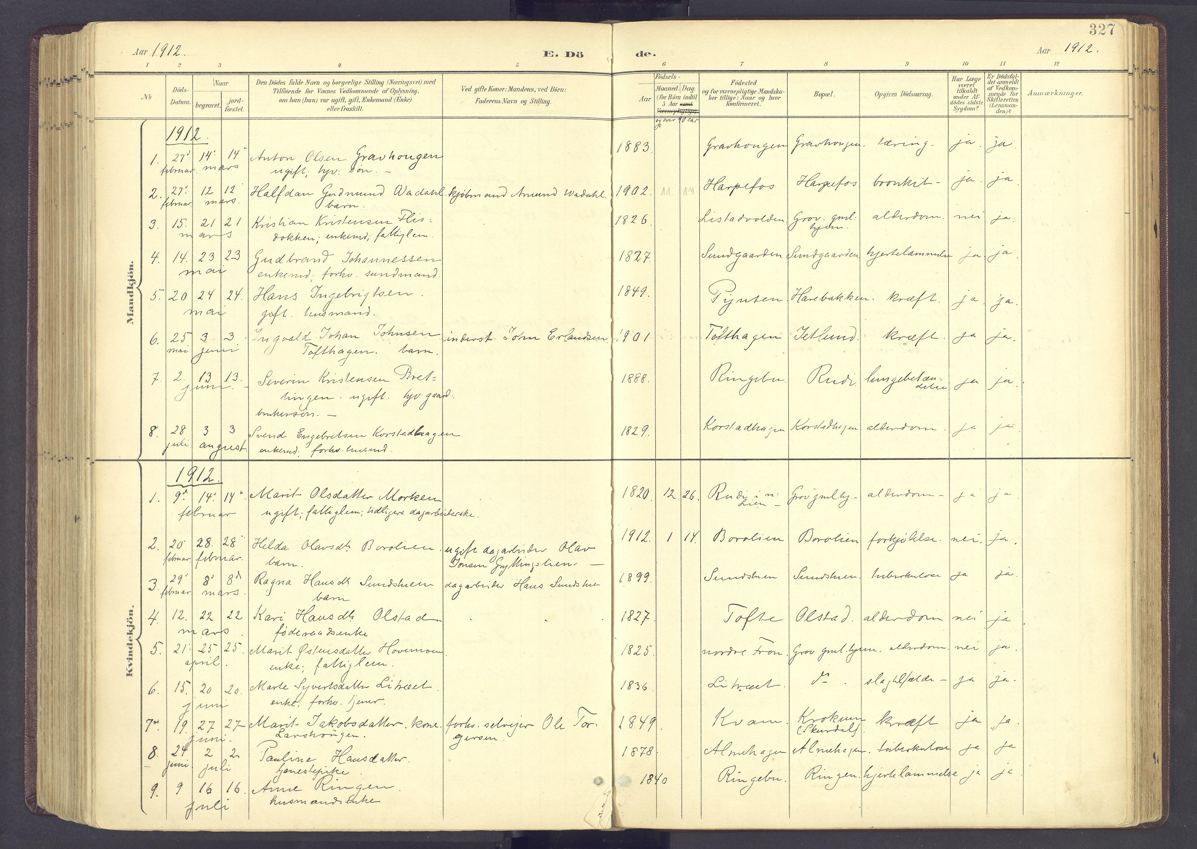 SAH, Sør-Fron prestekontor, H/Ha/Haa/L0004: Ministerialbok nr. 4, 1898-1919, s. 327