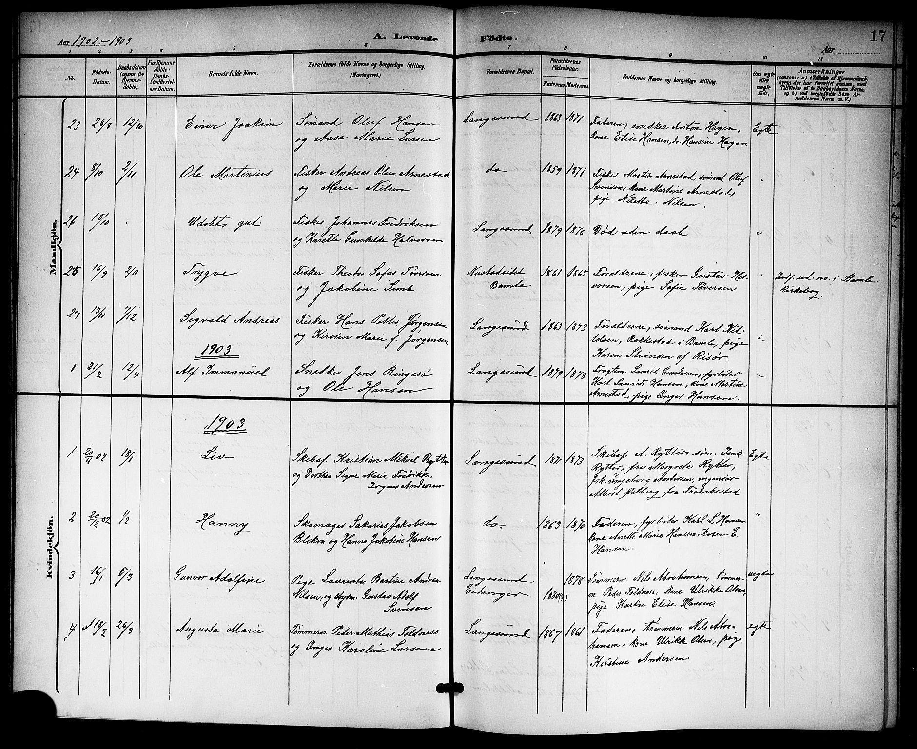 SAKO, Langesund kirkebøker, G/Ga/L0006: Klokkerbok nr. 6, 1899-1918, s. 17