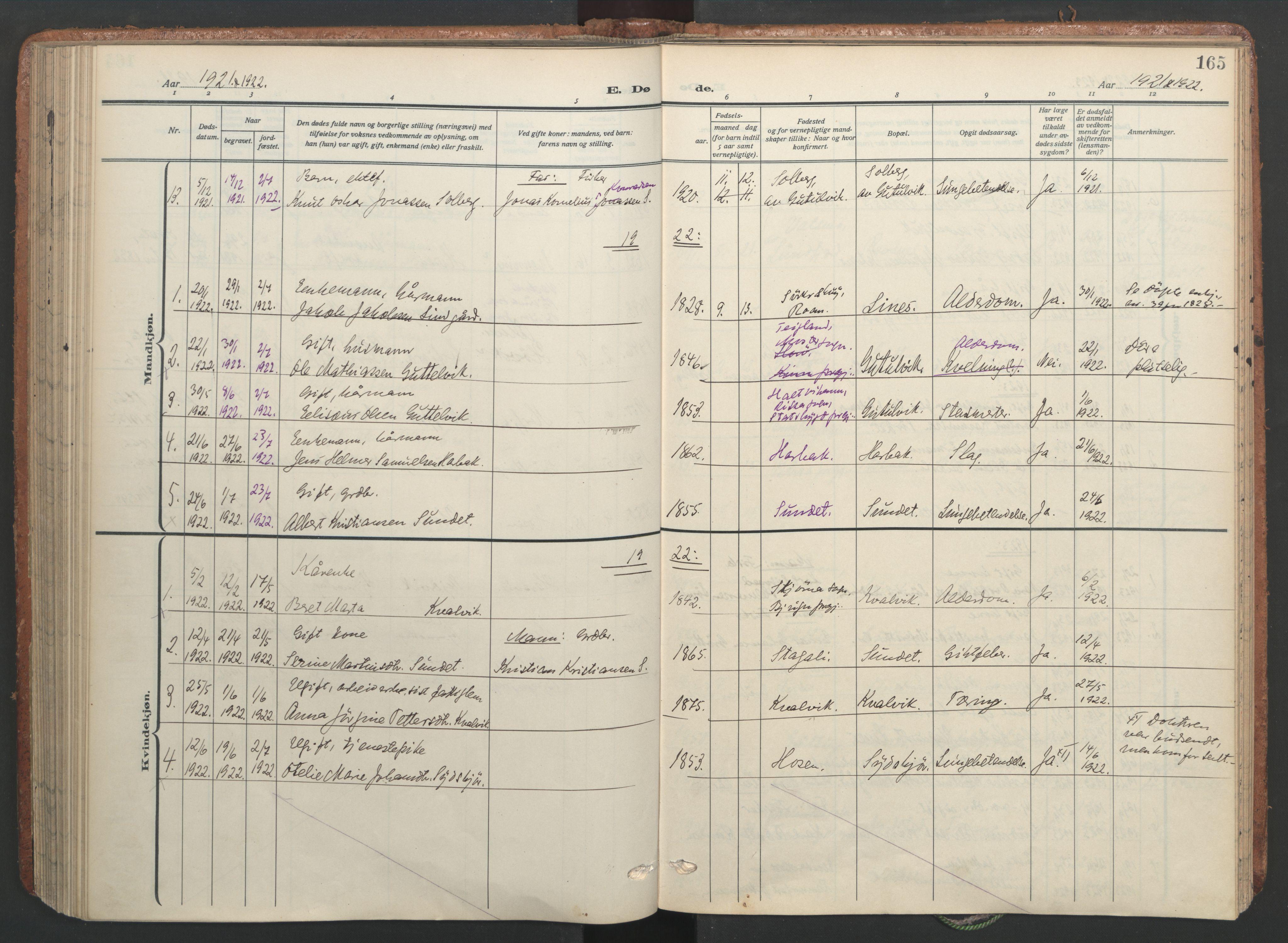 SAT, Ministerialprotokoller, klokkerbøker og fødselsregistre - Sør-Trøndelag, 656/L0694: Ministerialbok nr. 656A03, 1914-1931, s. 165