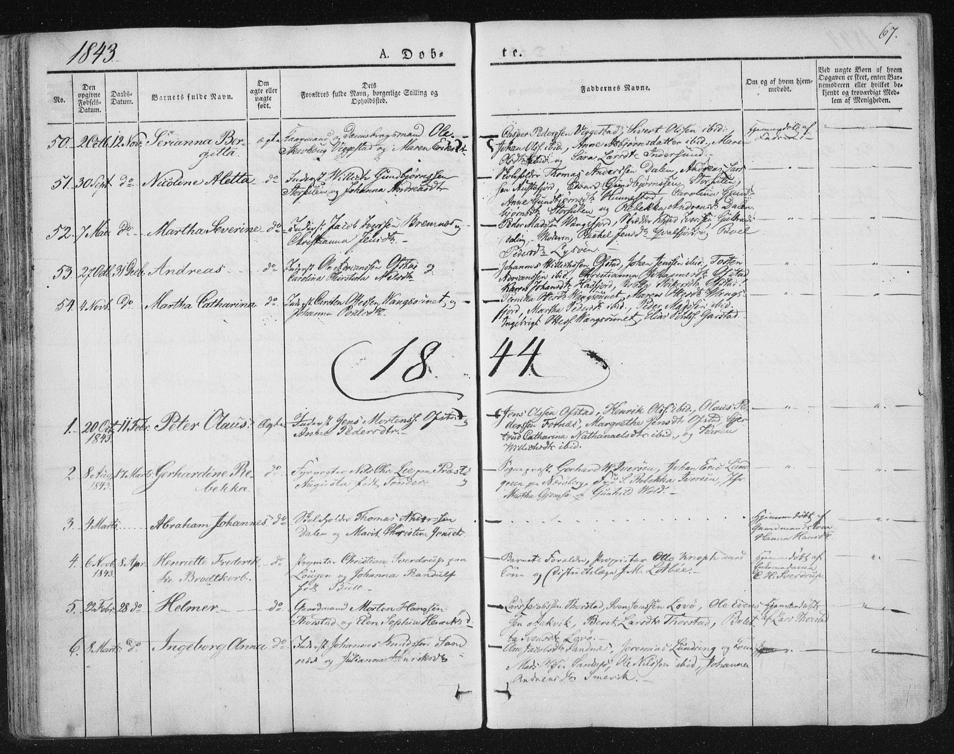 SAT, Ministerialprotokoller, klokkerbøker og fødselsregistre - Nord-Trøndelag, 784/L0669: Ministerialbok nr. 784A04, 1829-1859, s. 67
