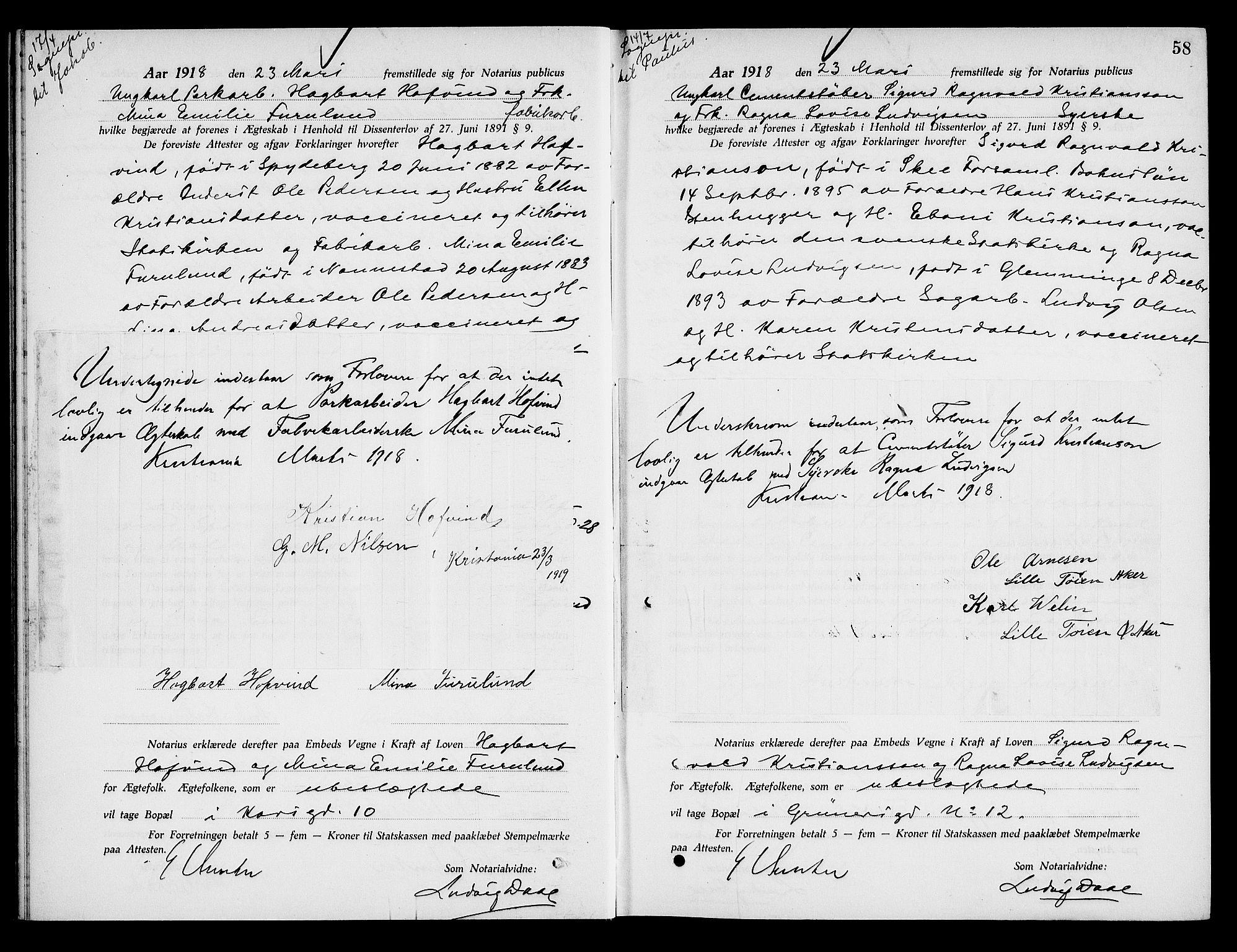 SAO, Oslo byfogd avd. I, L/Lb/Lbb/L0012: Notarialprotokoll, rekke II: Vigsler, 1918-1919, s. 57b-58a