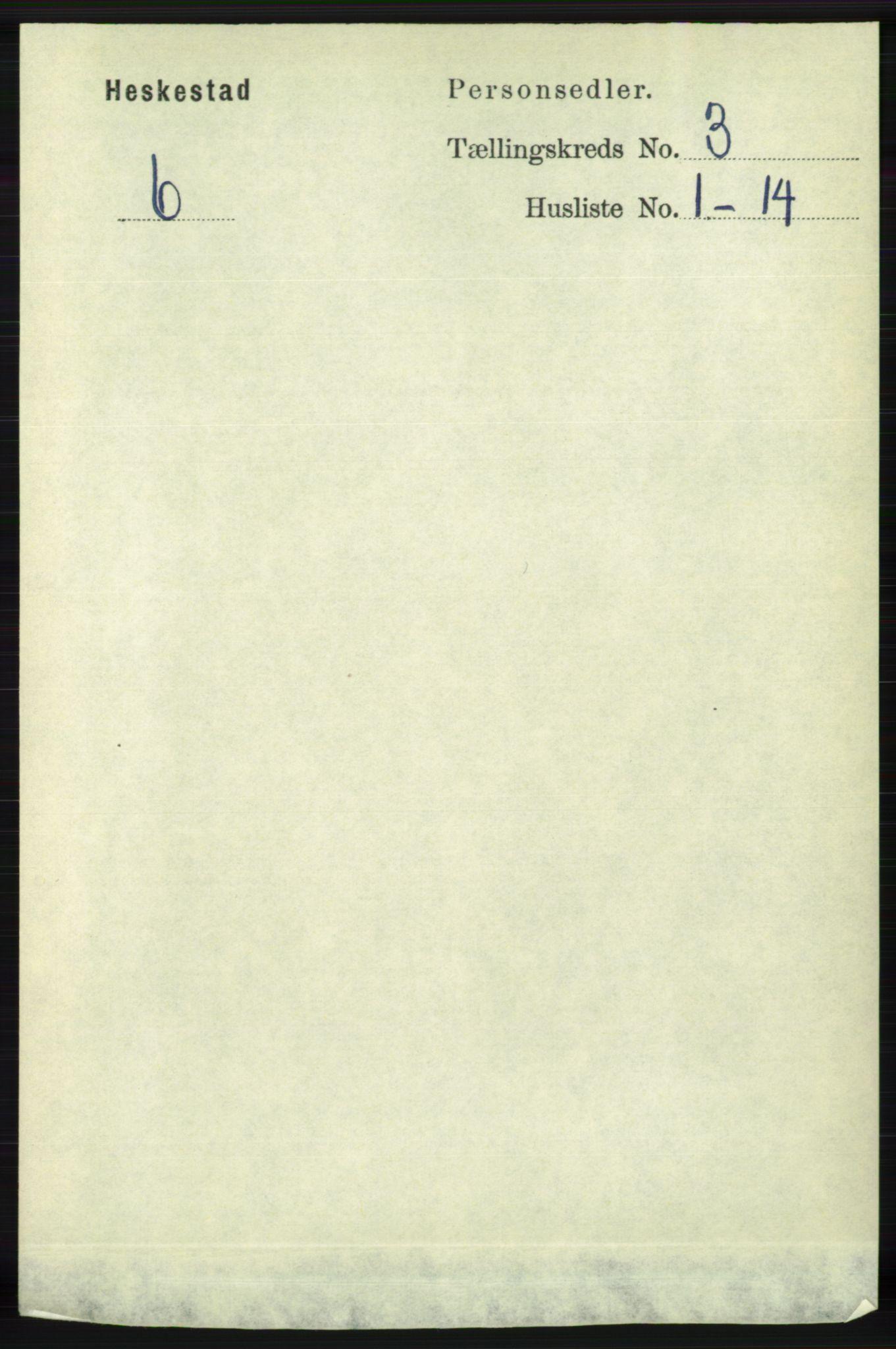 RA, Folketelling 1891 for 1113 Heskestad herred, 1891, s. 407