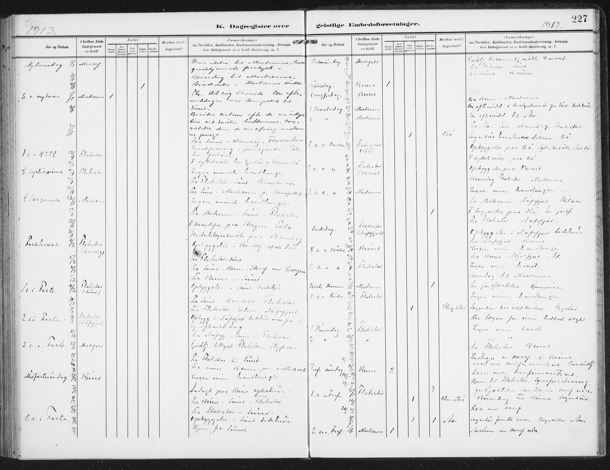 SAT, Ministerialprotokoller, klokkerbøker og fødselsregistre - Nordland, 885/L1206: Ministerialbok nr. 885A07, 1905-1915, s. 227