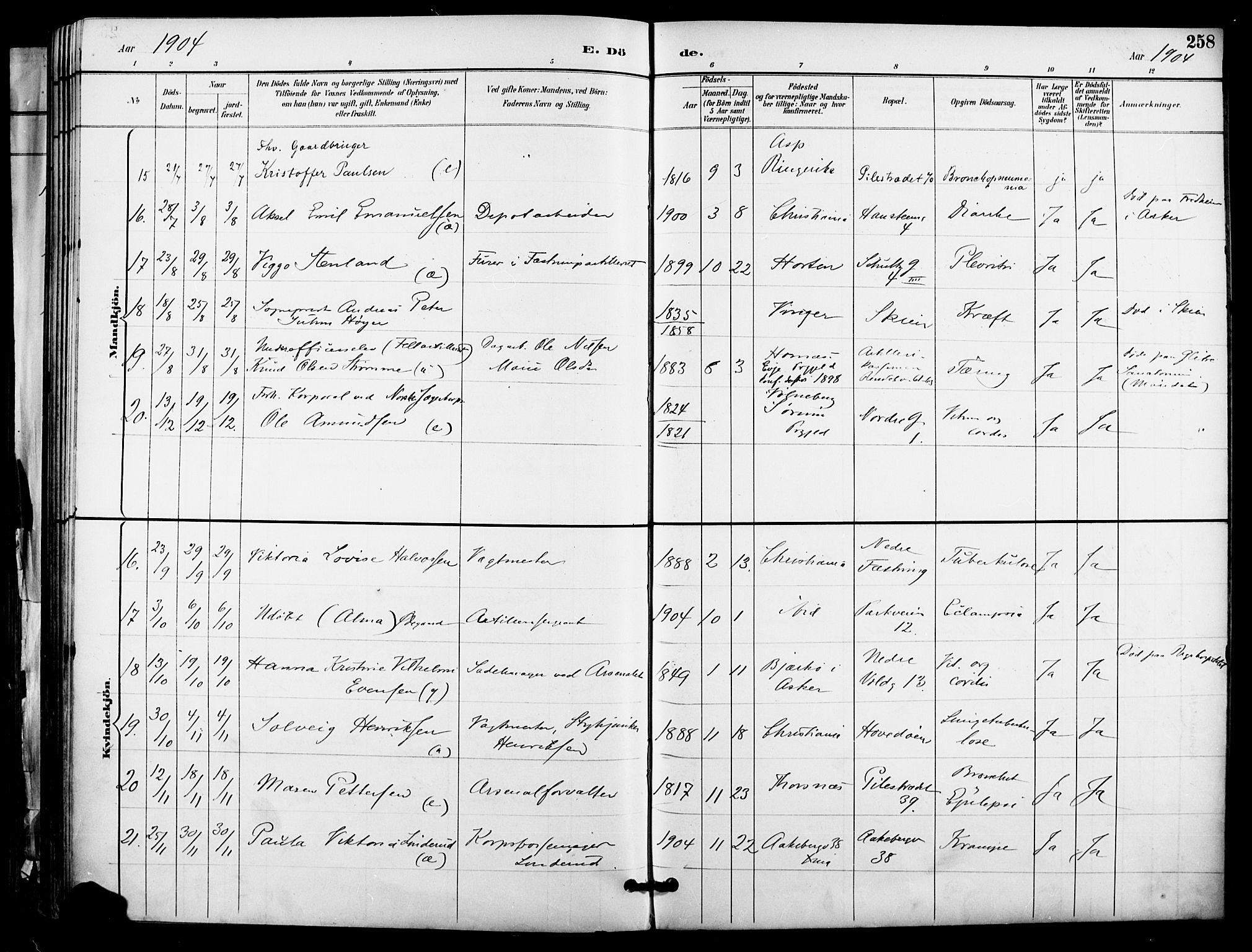 SAO, Garnisonsmenigheten Kirkebøker, F/Fa/L0013: Ministerialbok nr. 13, 1894-1904, s. 258