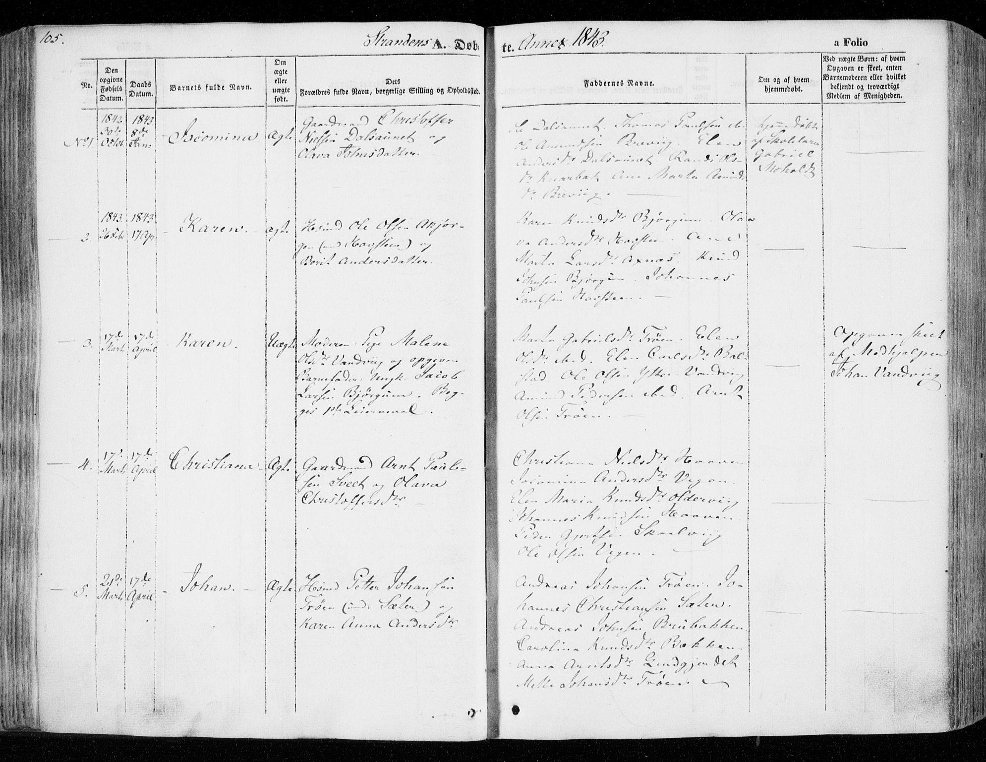 SAT, Ministerialprotokoller, klokkerbøker og fødselsregistre - Nord-Trøndelag, 701/L0007: Ministerialbok nr. 701A07 /2, 1842-1854, s. 105