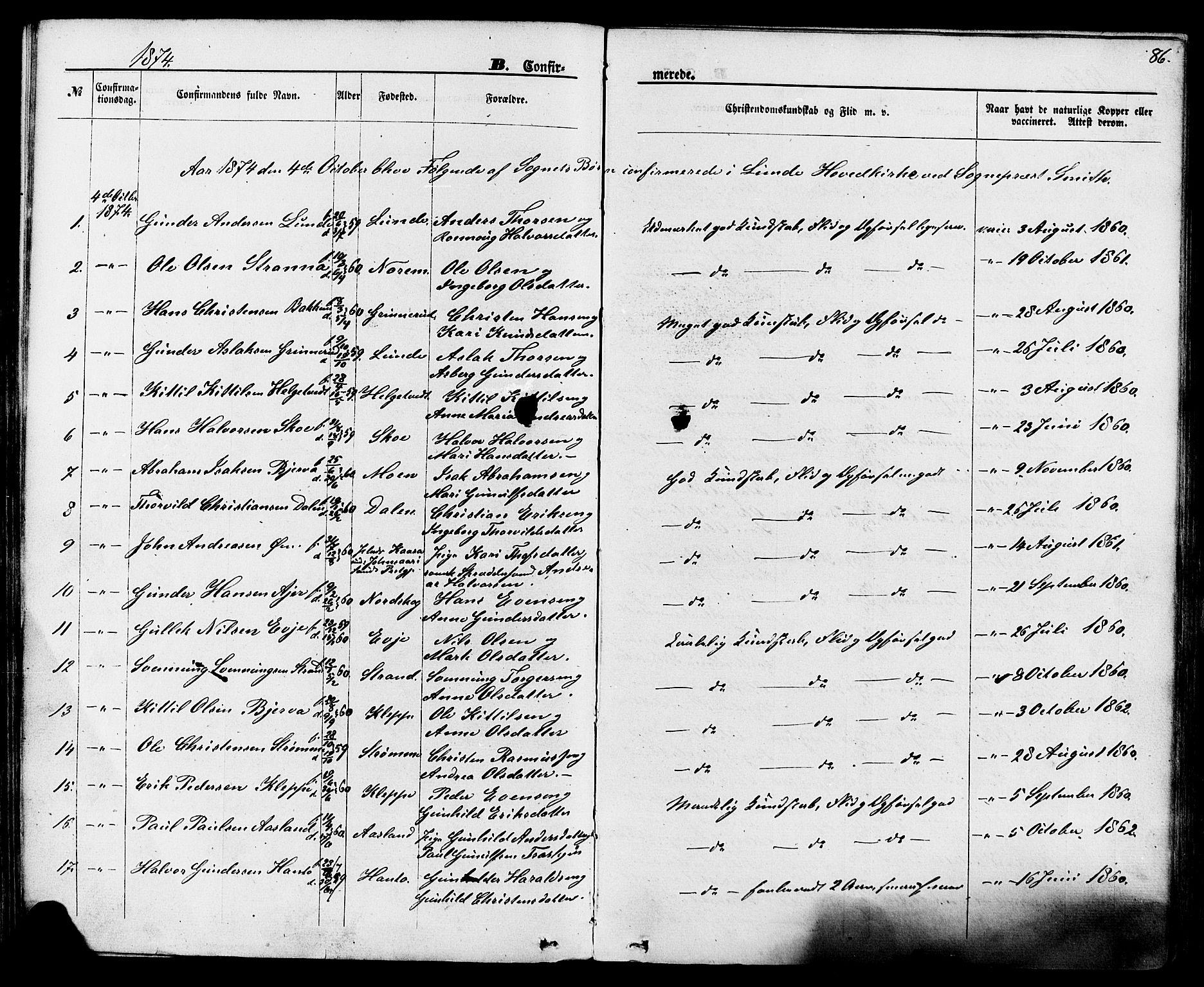 SAKO, Lunde kirkebøker, F/Fa/L0001: Ministerialbok nr. I 1, 1866-1883, s. 86