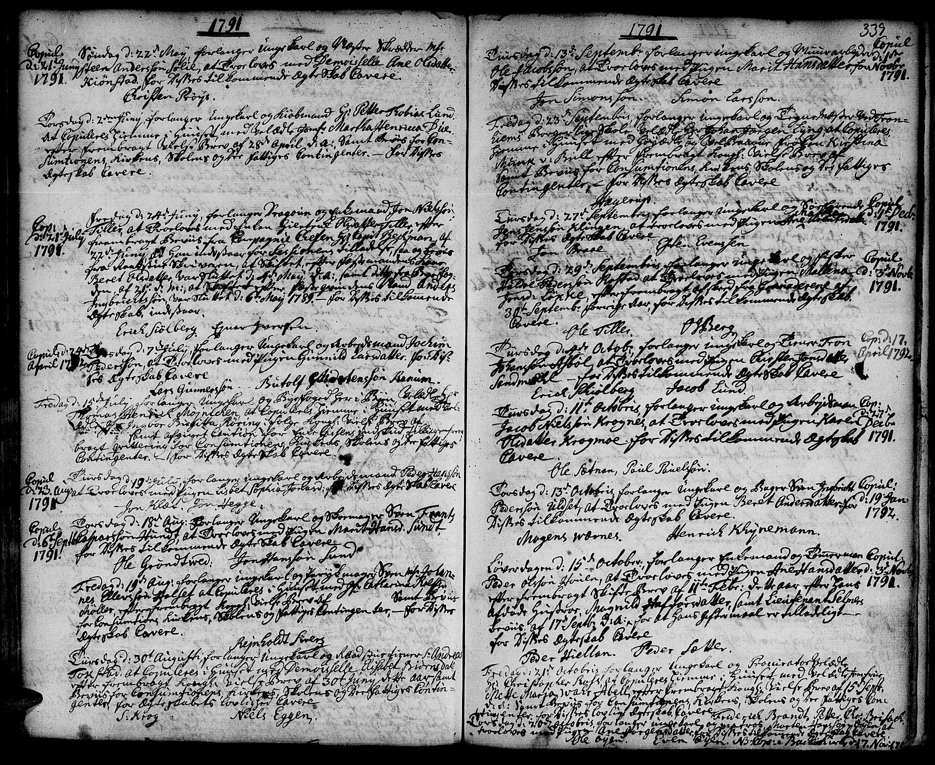 SAT, Ministerialprotokoller, klokkerbøker og fødselsregistre - Sør-Trøndelag, 601/L0038: Ministerialbok nr. 601A06, 1766-1877, s. 339