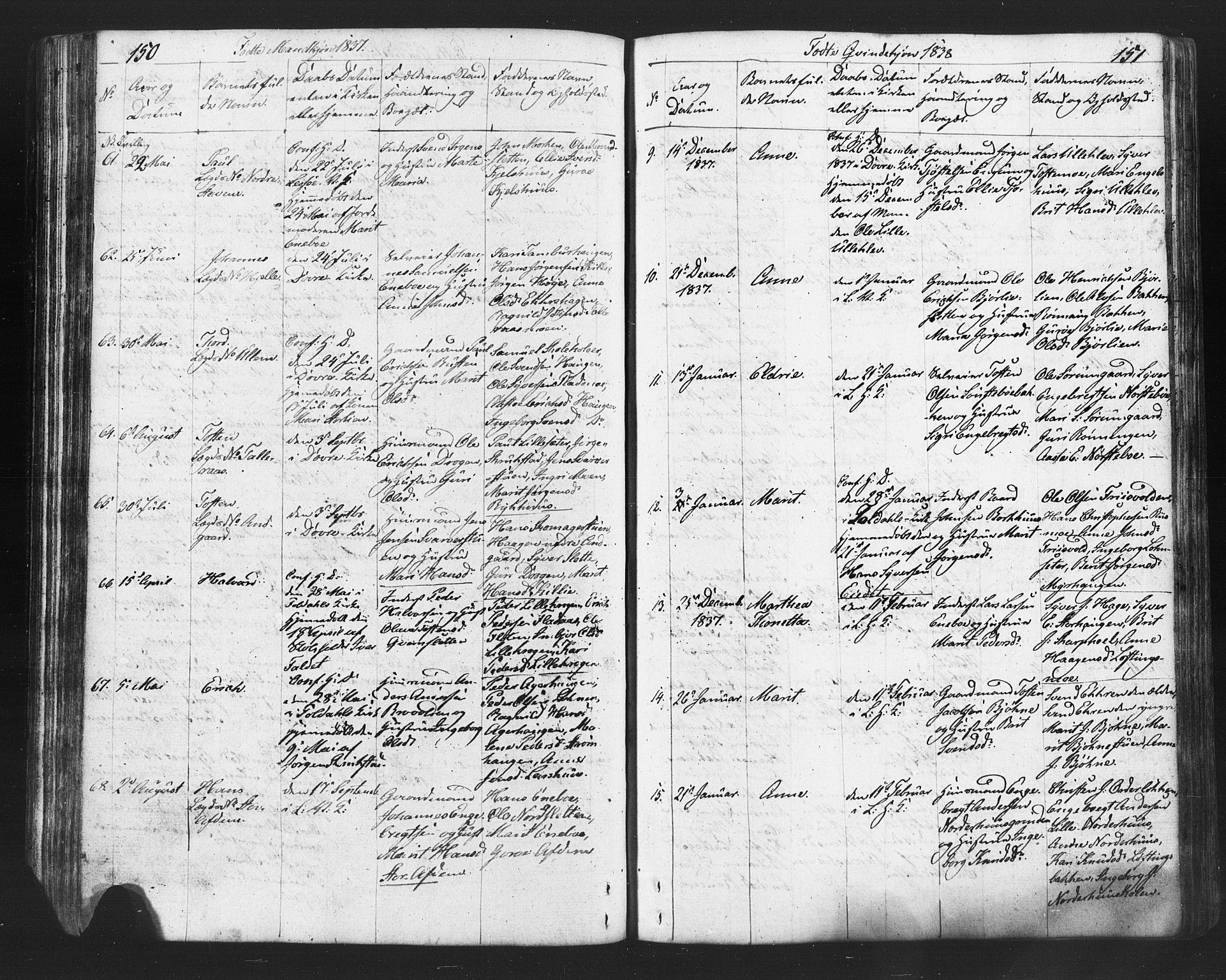 SAH, Lesja prestekontor, Klokkerbok nr. 2, 1832-1850, s. 150-151
