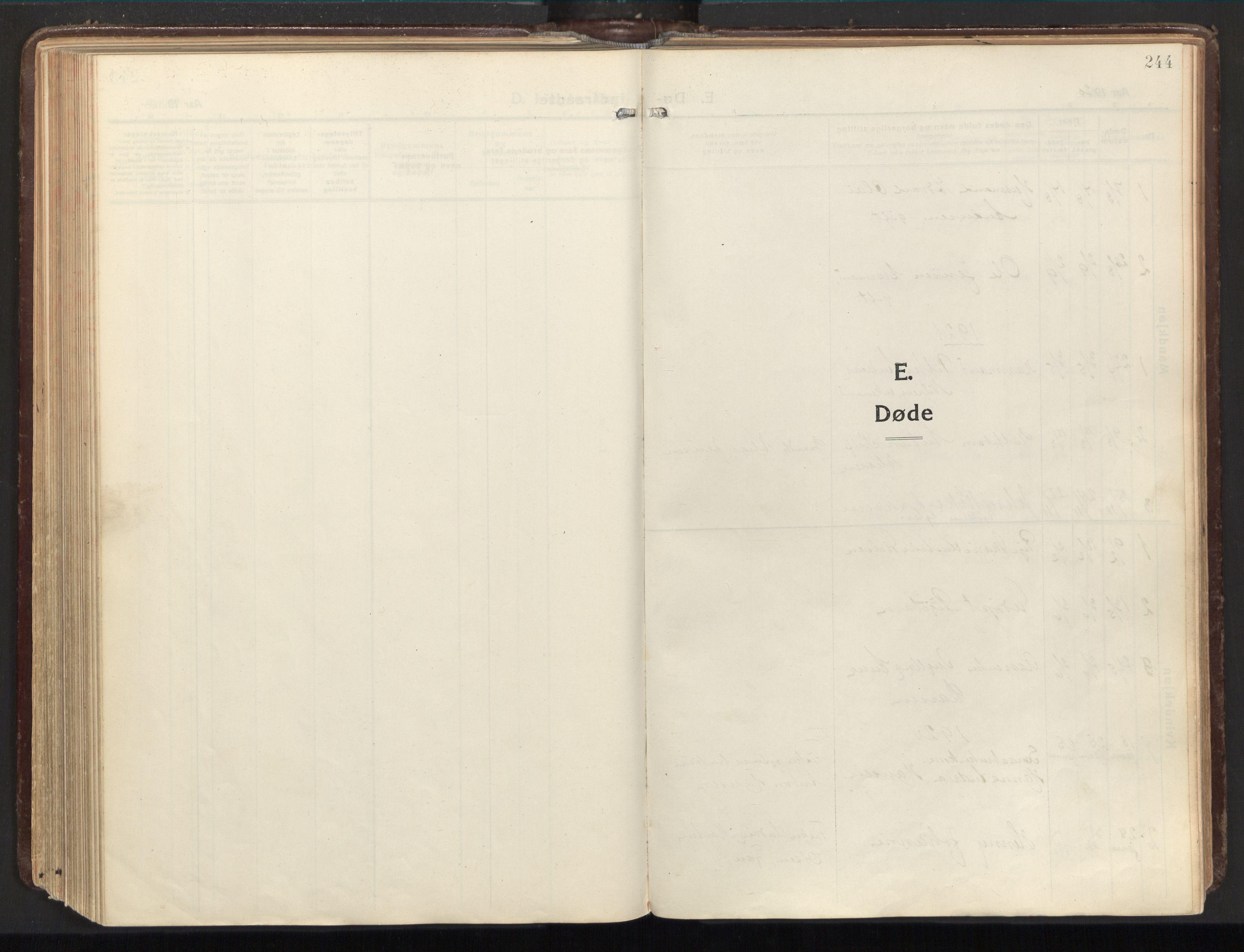 SAT, Ministerialprotokoller, klokkerbøker og fødselsregistre - Nordland, 803/L0073: Ministerialbok nr. 803A03, 1920-1955, s. 244