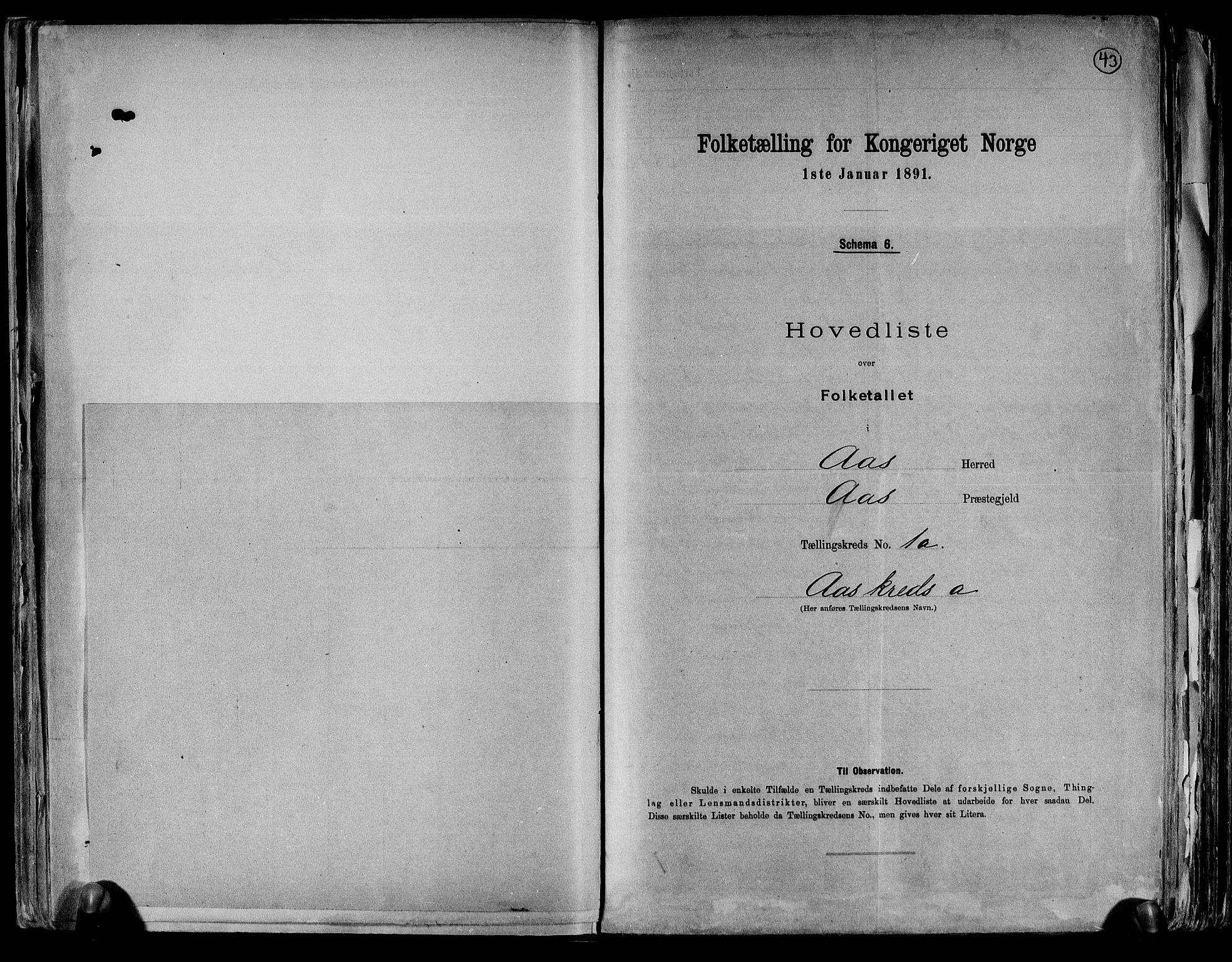 RA, Folketelling 1891 for 0214 Ås herred, 1891, s. 6