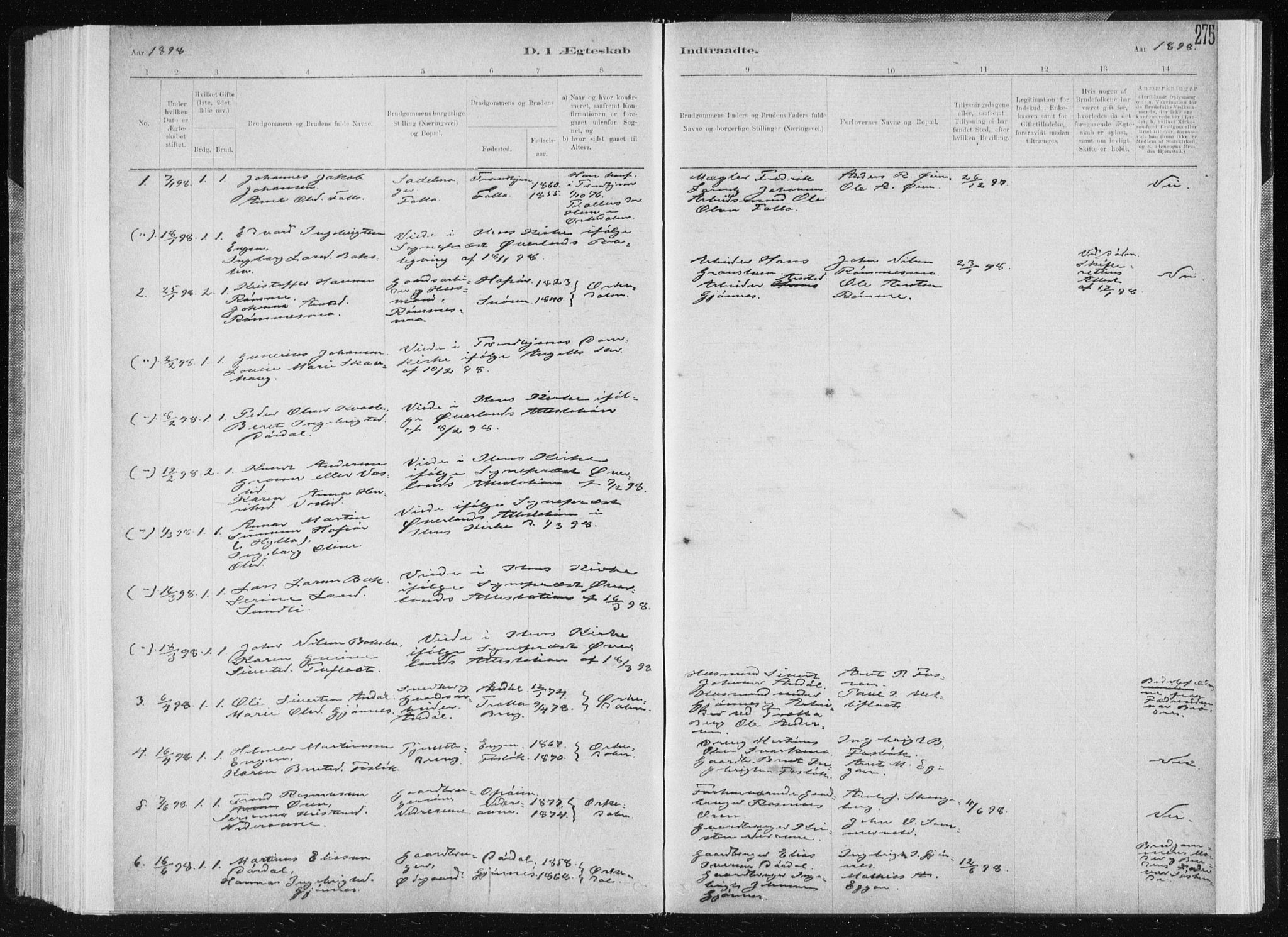 SAT, Ministerialprotokoller, klokkerbøker og fødselsregistre - Sør-Trøndelag, 668/L0818: Klokkerbok nr. 668C07, 1885-1898, s. 275
