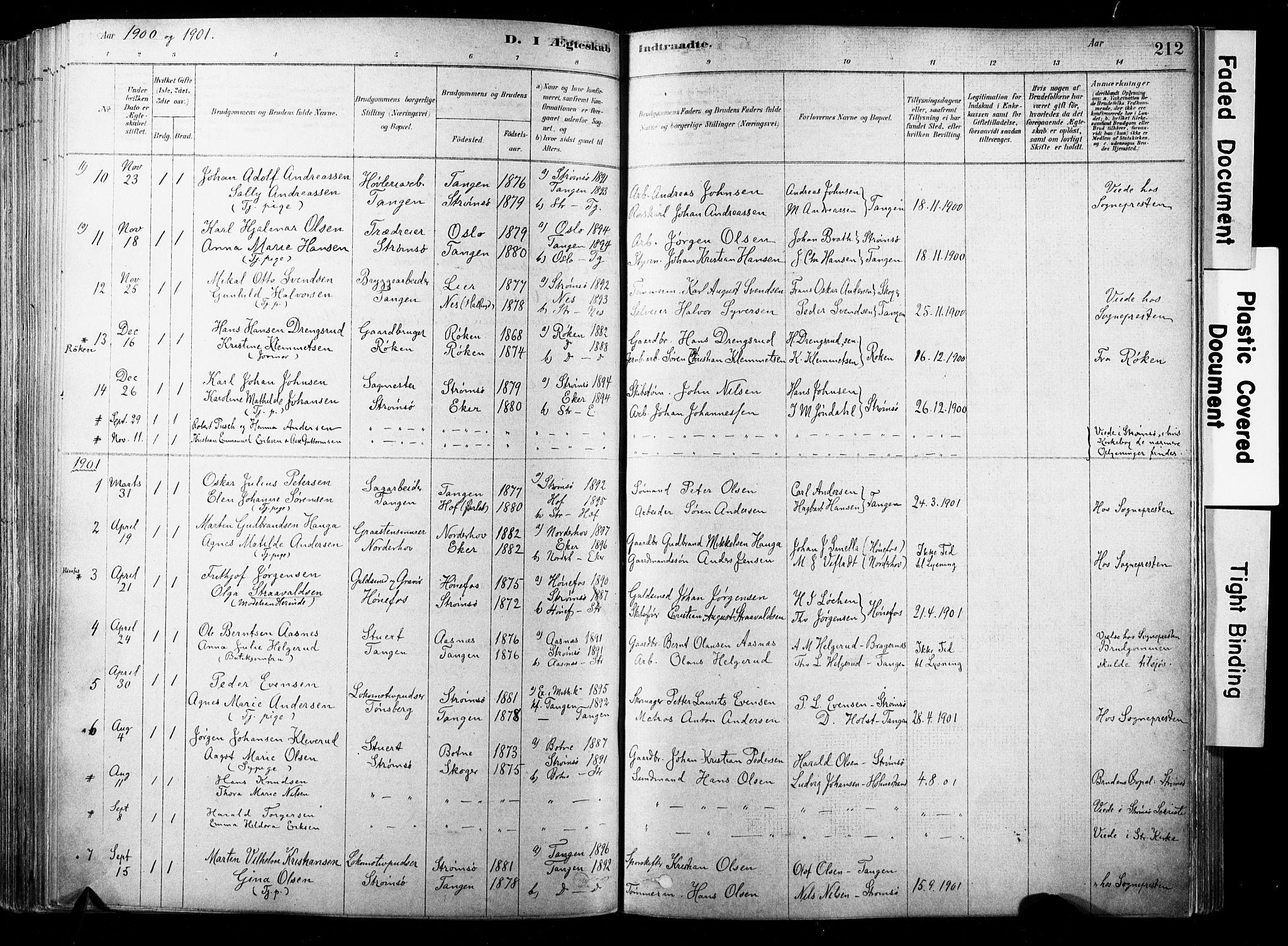 SAKO, Strømsø kirkebøker, F/Fb/L0006: Ministerialbok nr. II 6, 1879-1910, s. 212