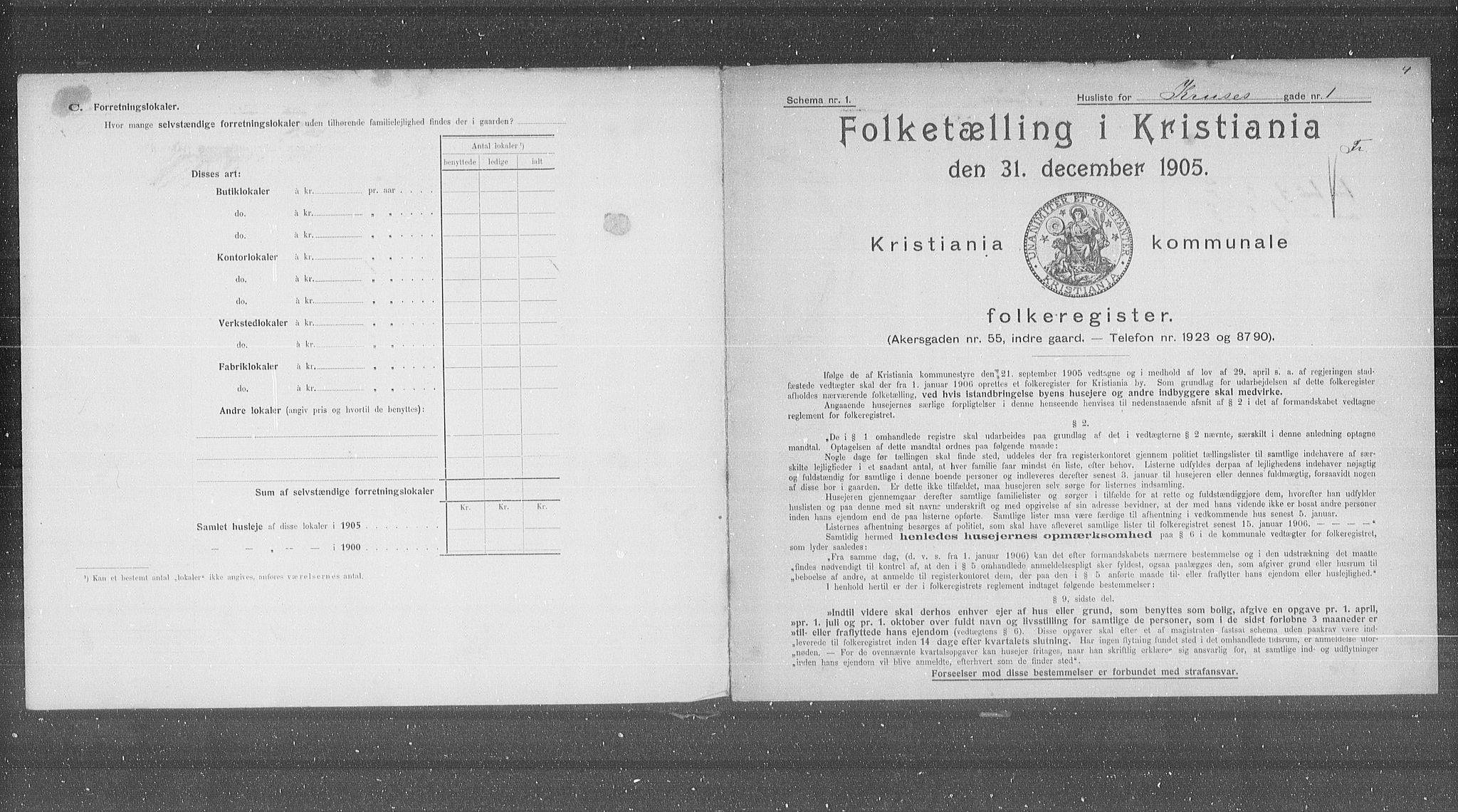 OBA, Kommunal folketelling 1905 for Kristiania kjøpstad, 1905, s. 28885