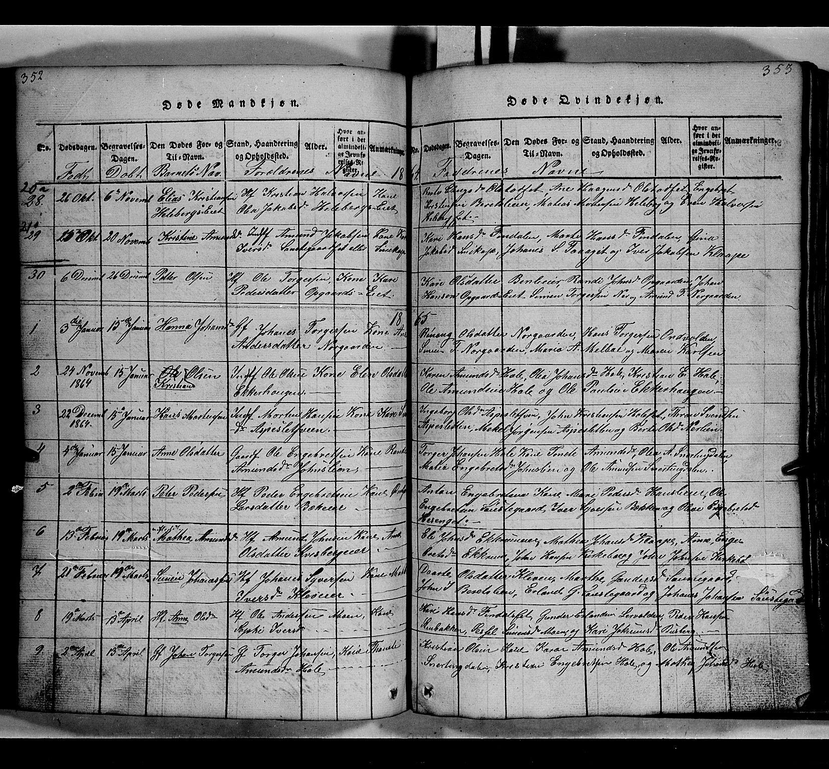 SAH, Gausdal prestekontor, Klokkerbok nr. 2, 1818-1874, s. 352-353