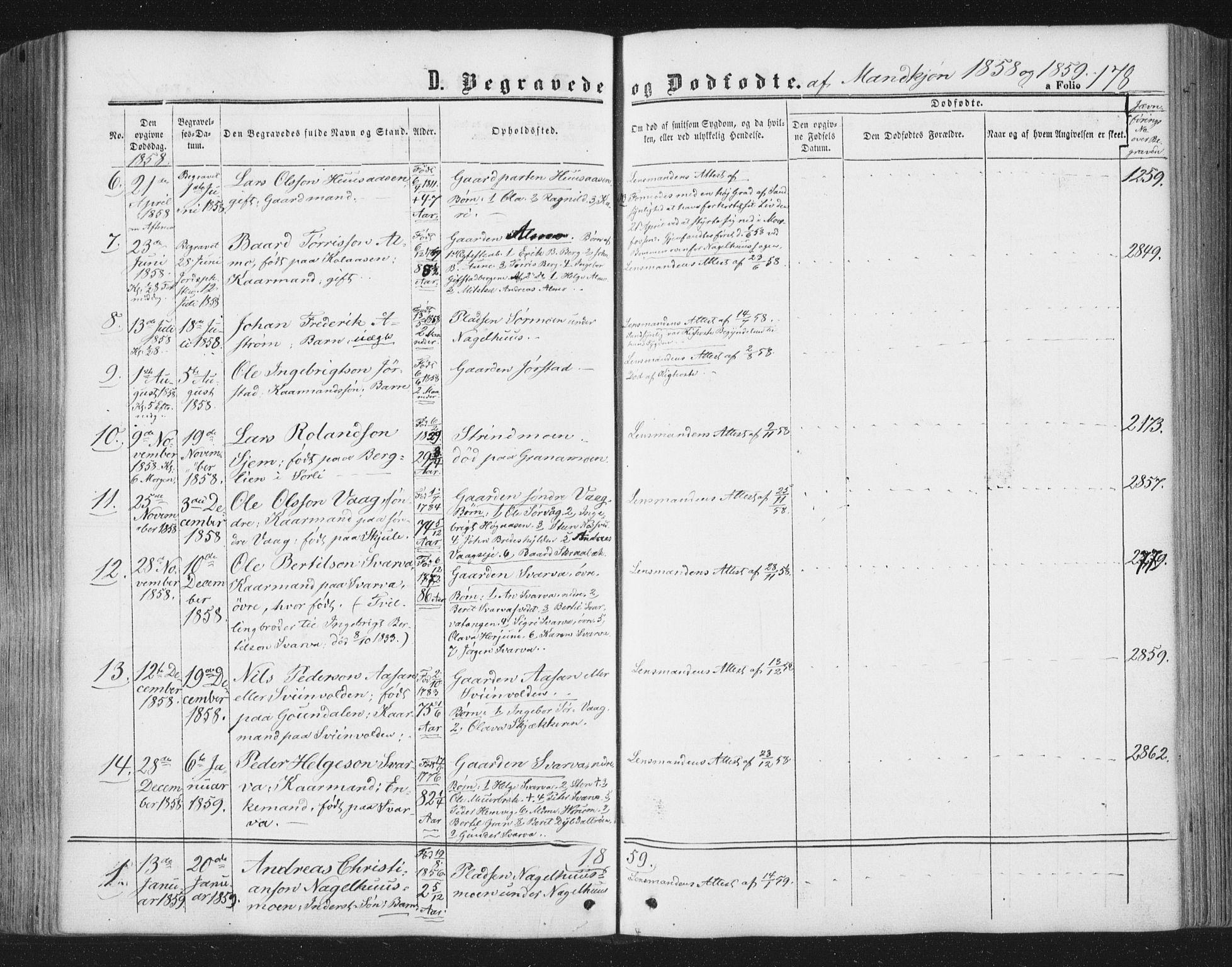 SAT, Ministerialprotokoller, klokkerbøker og fødselsregistre - Nord-Trøndelag, 749/L0472: Ministerialbok nr. 749A06, 1857-1873, s. 178