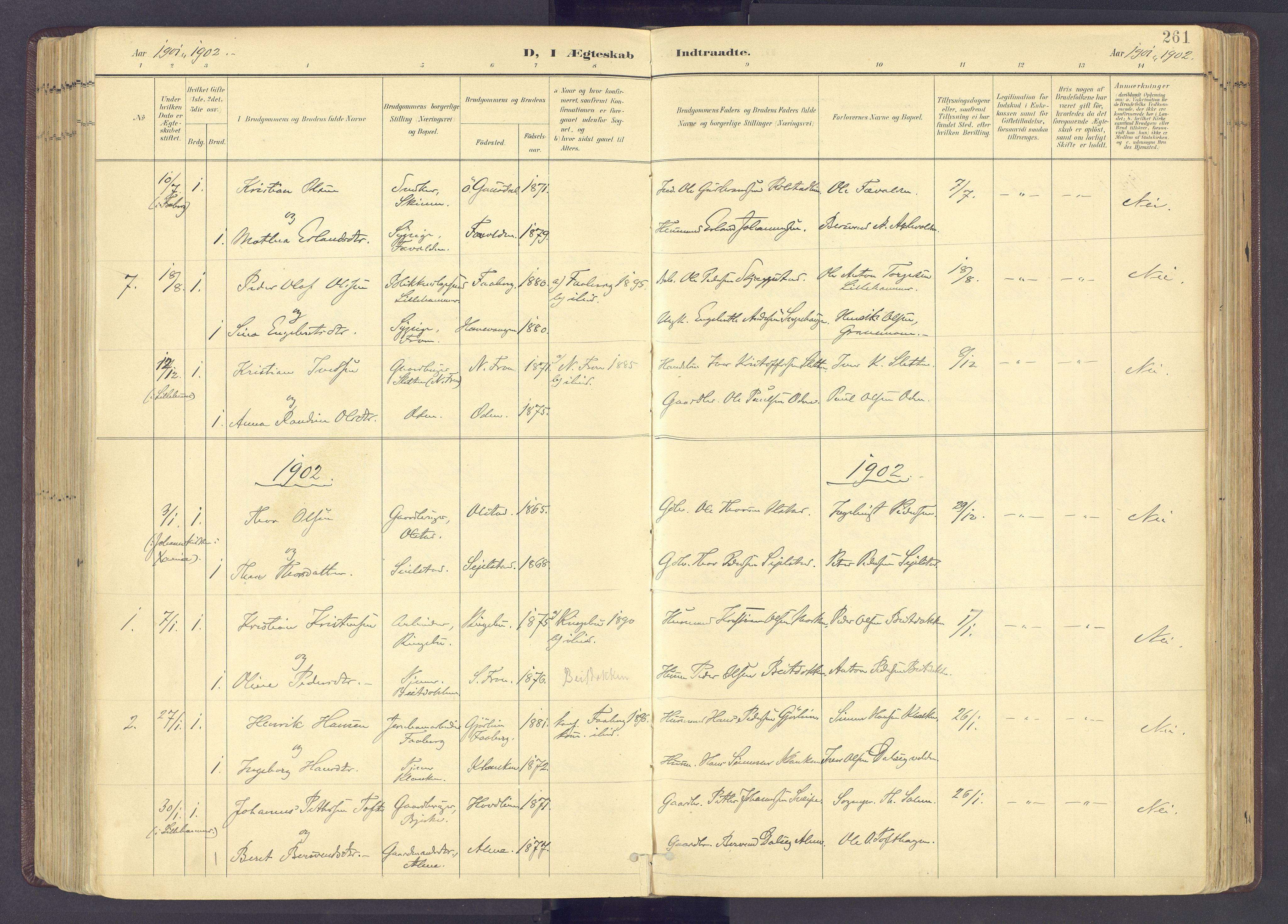 SAH, Sør-Fron prestekontor, H/Ha/Haa/L0004: Ministerialbok nr. 4, 1898-1919, s. 261