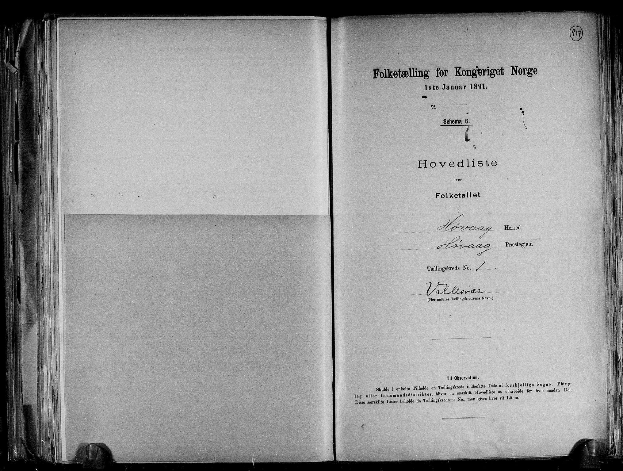 RA, Folketelling 1891 for 0927 Høvåg herred, 1891, s. 5