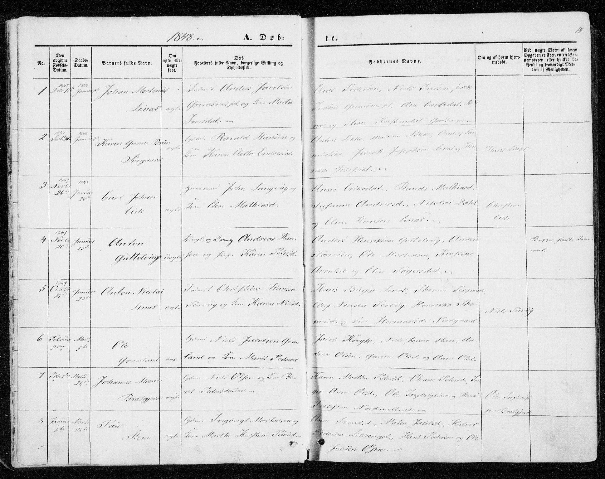 SAT, Ministerialprotokoller, klokkerbøker og fødselsregistre - Sør-Trøndelag, 657/L0704: Ministerialbok nr. 657A05, 1846-1857, s. 14