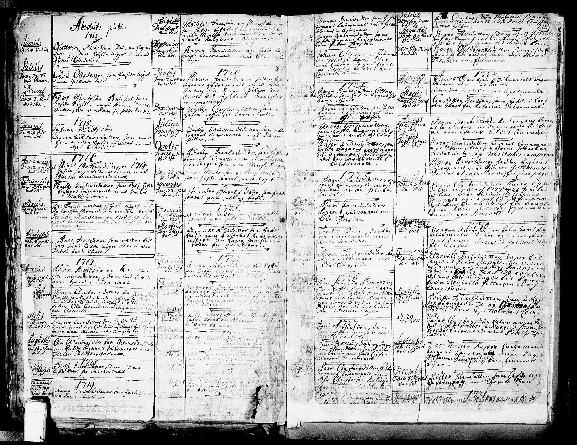 SAKO, Solum kirkebøker, F/Fa/L0002: Ministerialbok nr. I 2, 1713-1761, s. 210