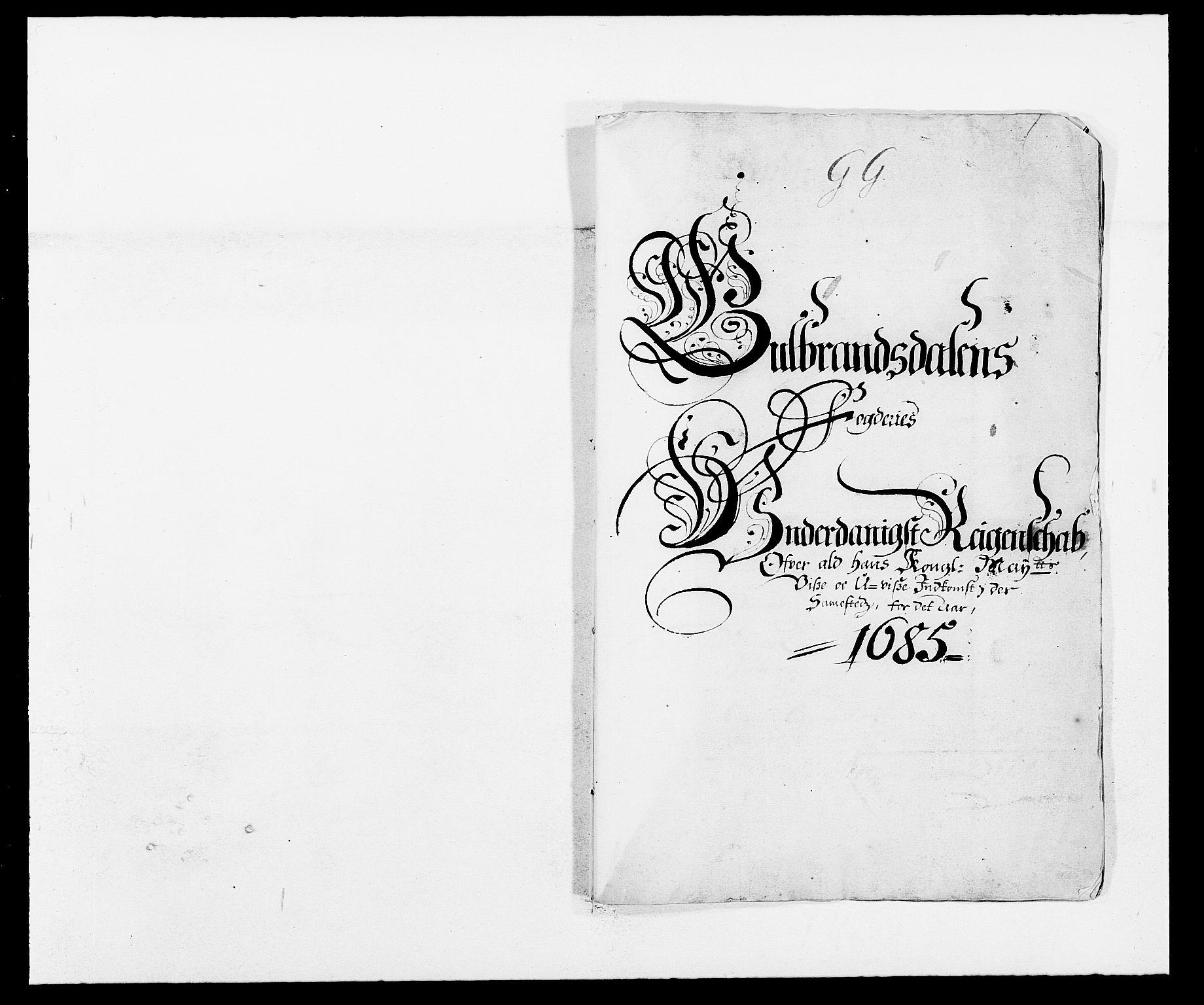 RA, Rentekammeret inntil 1814, Reviderte regnskaper, Fogderegnskap, R17/L1160: Fogderegnskap Gudbrandsdal, 1682-1689, s. 1