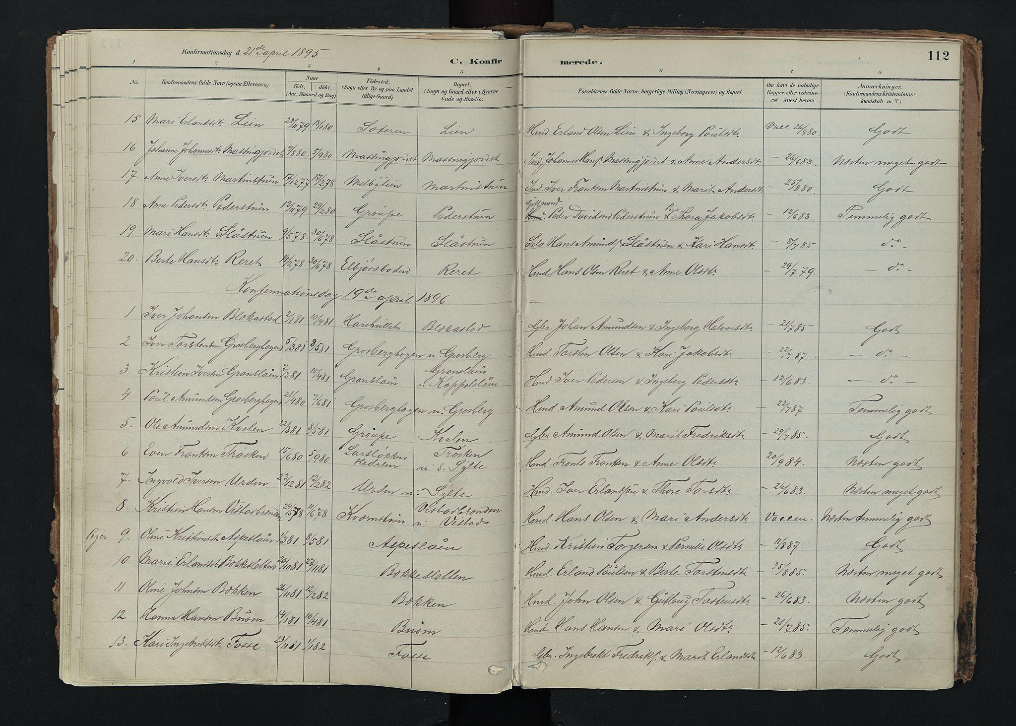 SAH, Nord-Fron prestekontor, Ministerialbok nr. 5, 1884-1914, s. 112