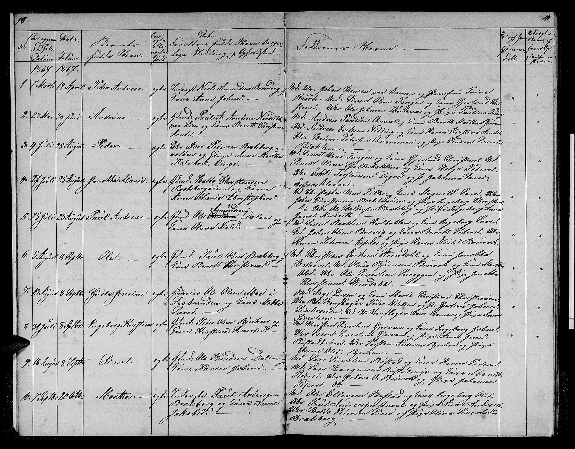 SAT, Ministerialprotokoller, klokkerbøker og fødselsregistre - Sør-Trøndelag, 608/L0340: Klokkerbok nr. 608C06, 1864-1889, s. 10-11