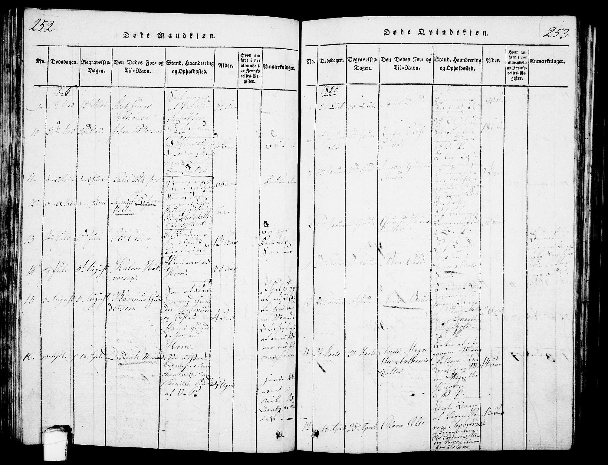 SAKO, Porsgrunn kirkebøker , G/Gb/L0001: Klokkerbok nr. II 1, 1817-1828, s. 252-253